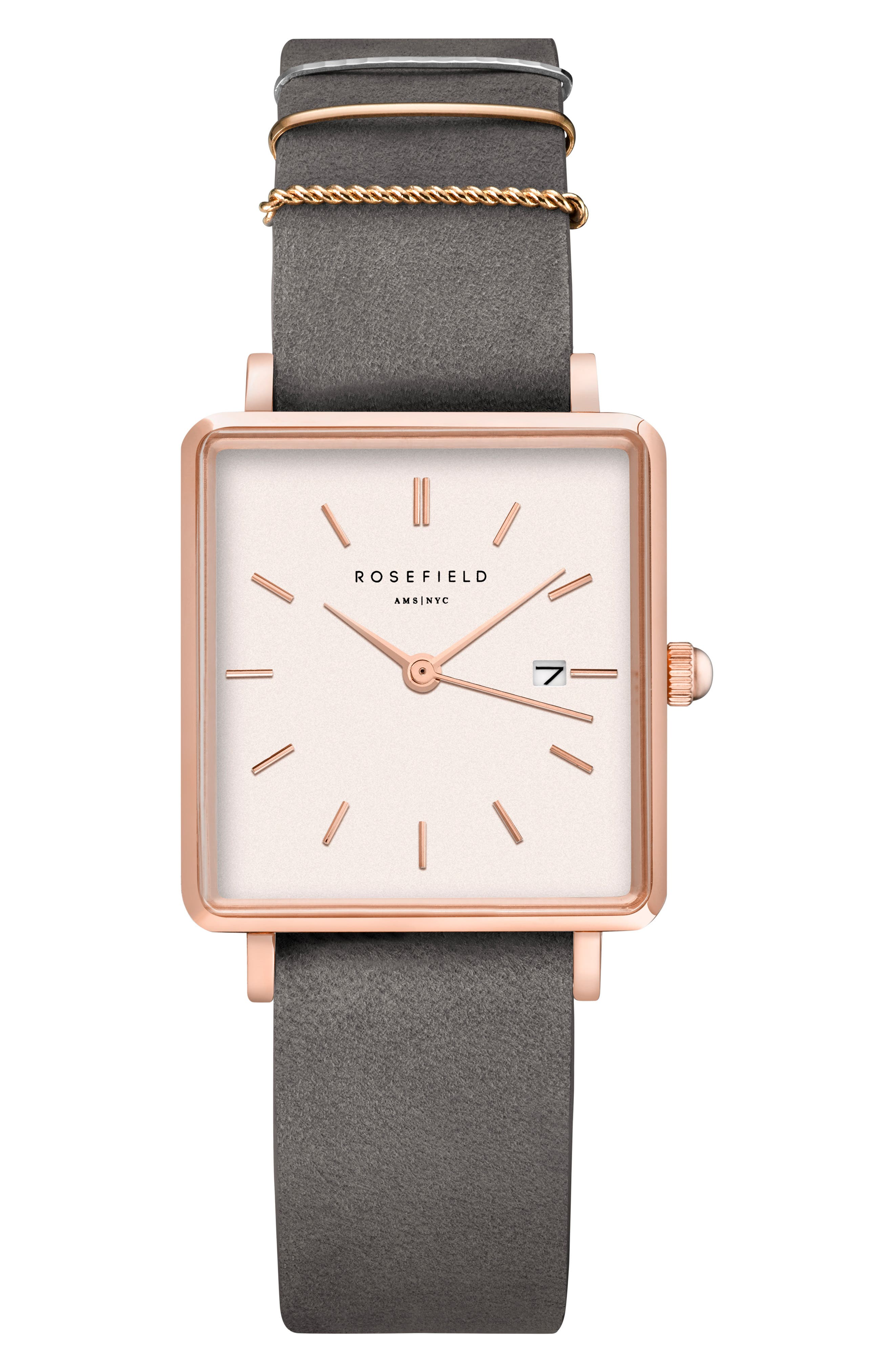 ROSEFIELD The Boxy Leather Strap Watch, 26mm x 28mm, Main, color, GREY/ WHITE/ ROSE GOLD