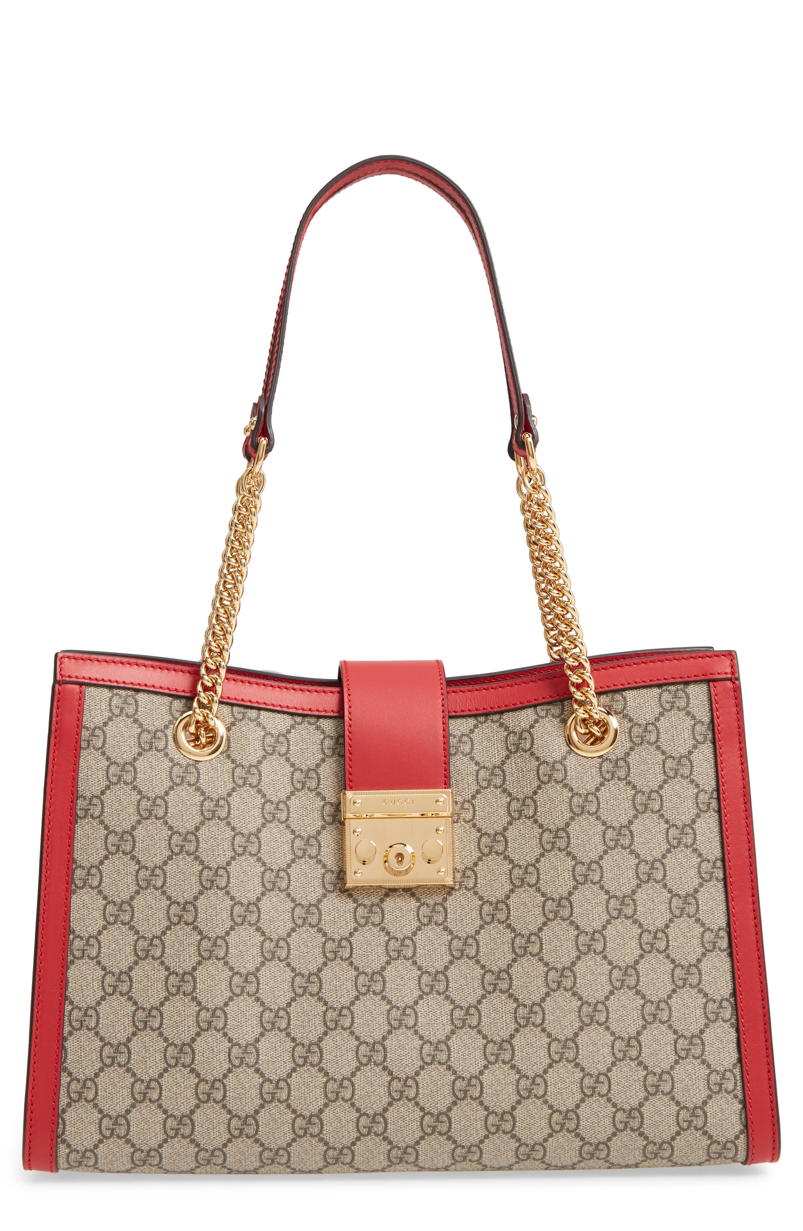 Medium Padlock GG Supreme Canvas Tote,                             Main thumbnail 1, color,                             283