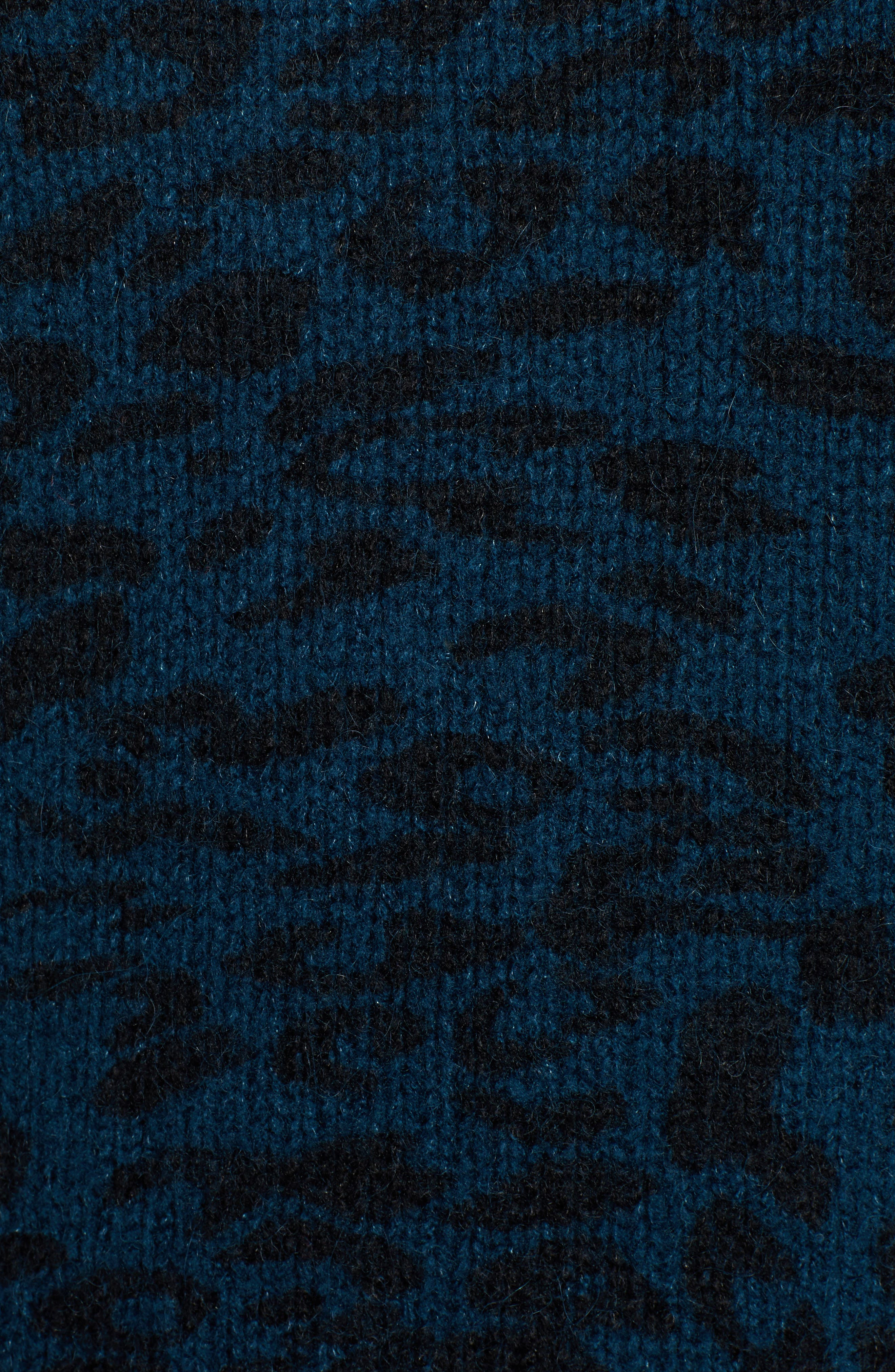 Donovan Animal Print Sweater,                             Alternate thumbnail 5, color,                             BLUE LEOPARD