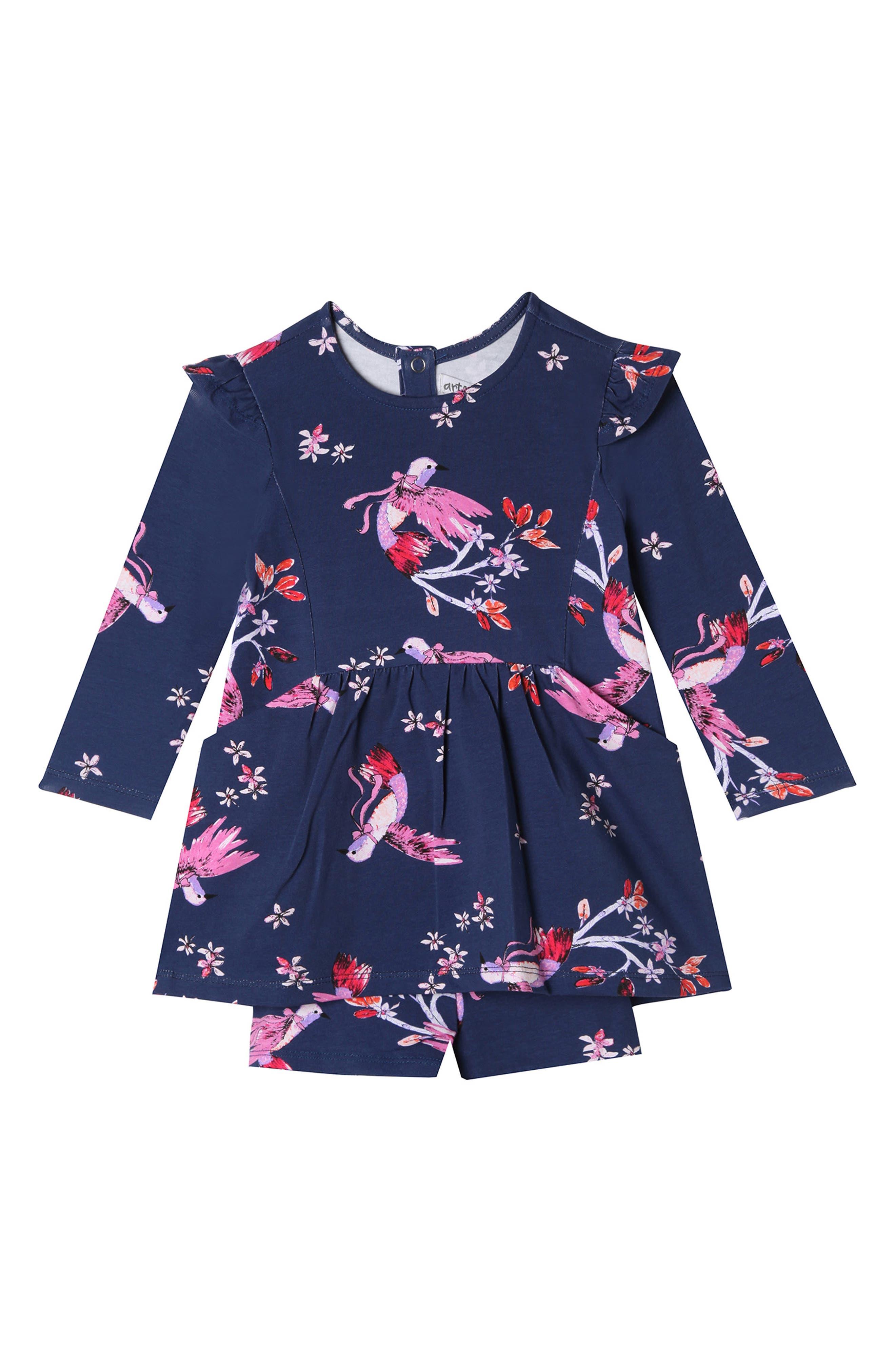 Leah Swallow Dress & Shorts Set,                             Main thumbnail 1, color,                             SWALLOW