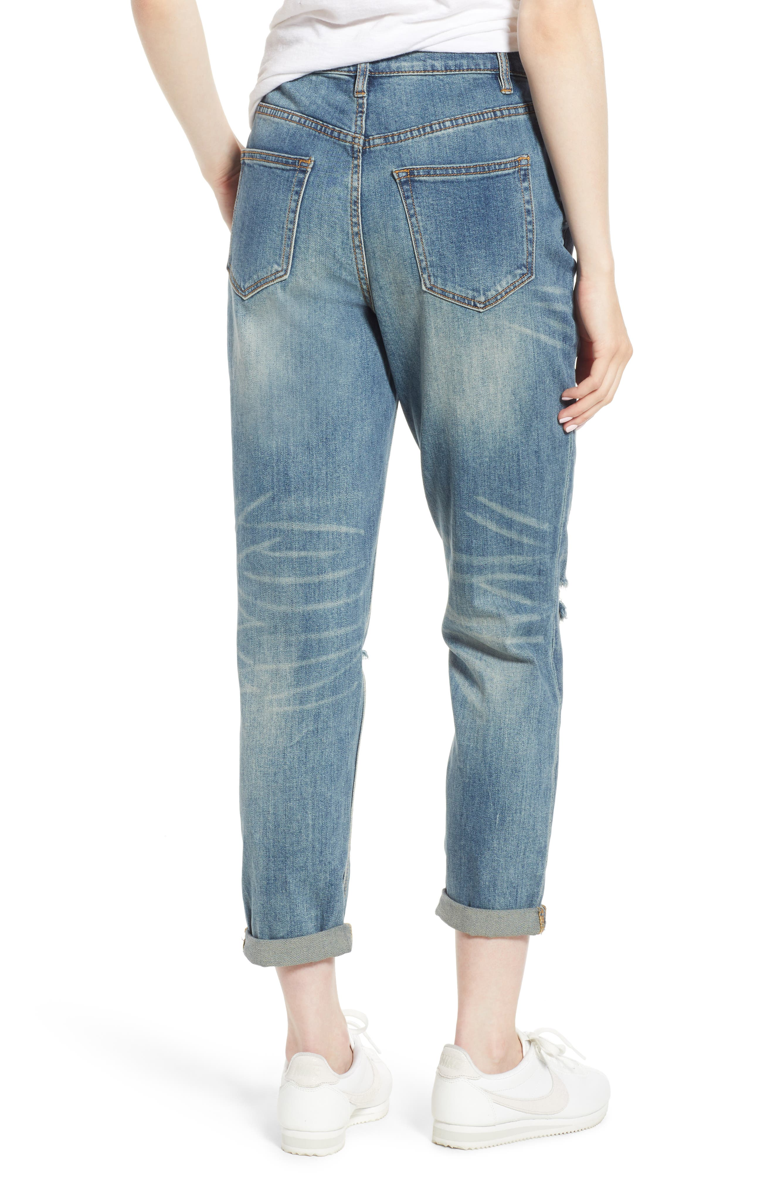 Billie Distressed Relaxed Jeans,                             Alternate thumbnail 2, color,                             CAMEO