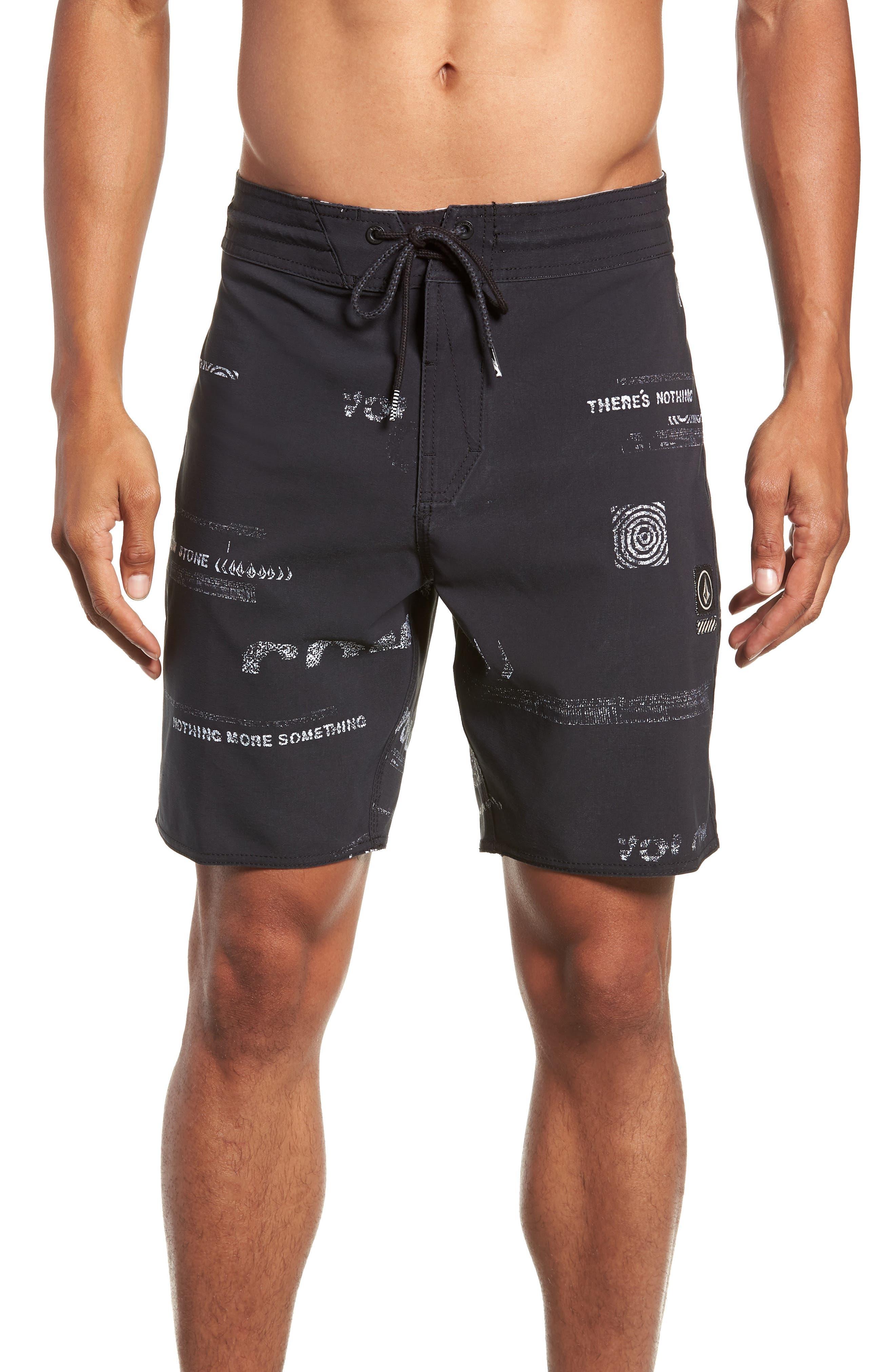 Nothing More Stoney Board Shorts,                             Main thumbnail 1, color,                             BLACK WHITE