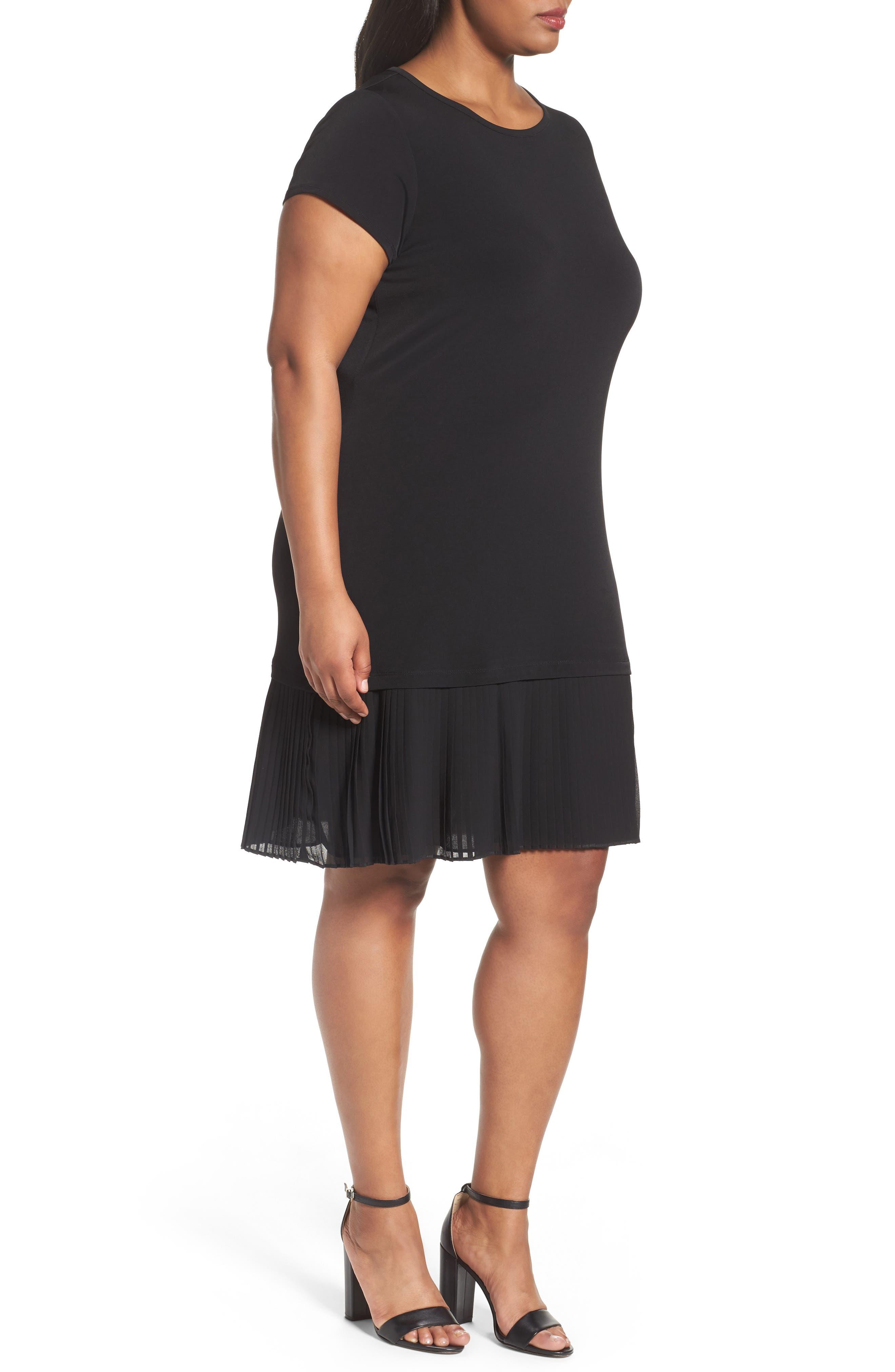 Pleat Chiffon Hem Jersey Dress,                             Alternate thumbnail 3, color,                             BLACK
