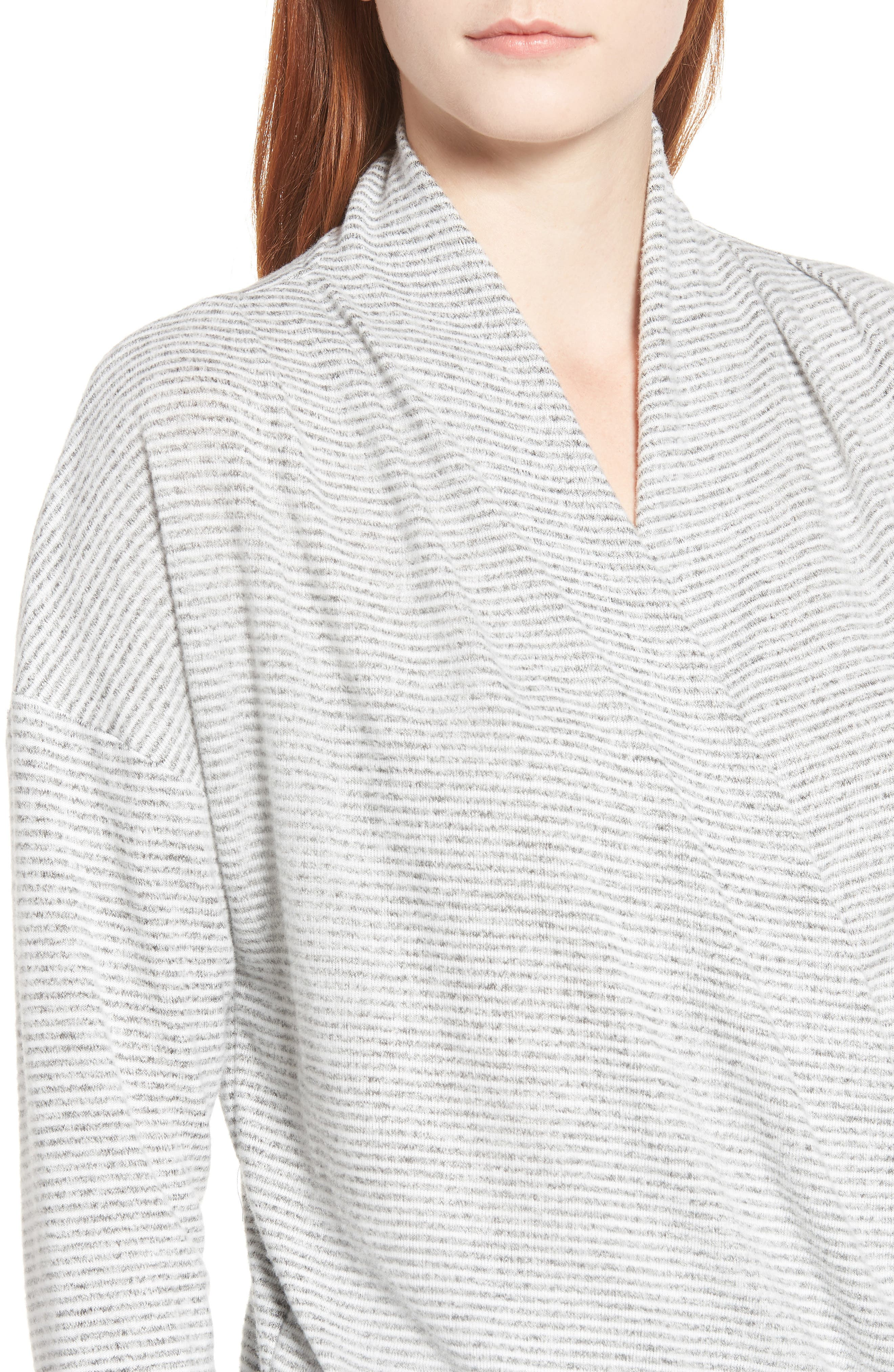 GIBSON,                             x Living in Yellow Diana Cozy Knit Wrap Top,                             Alternate thumbnail 4, color,                             GREY/ IVORY