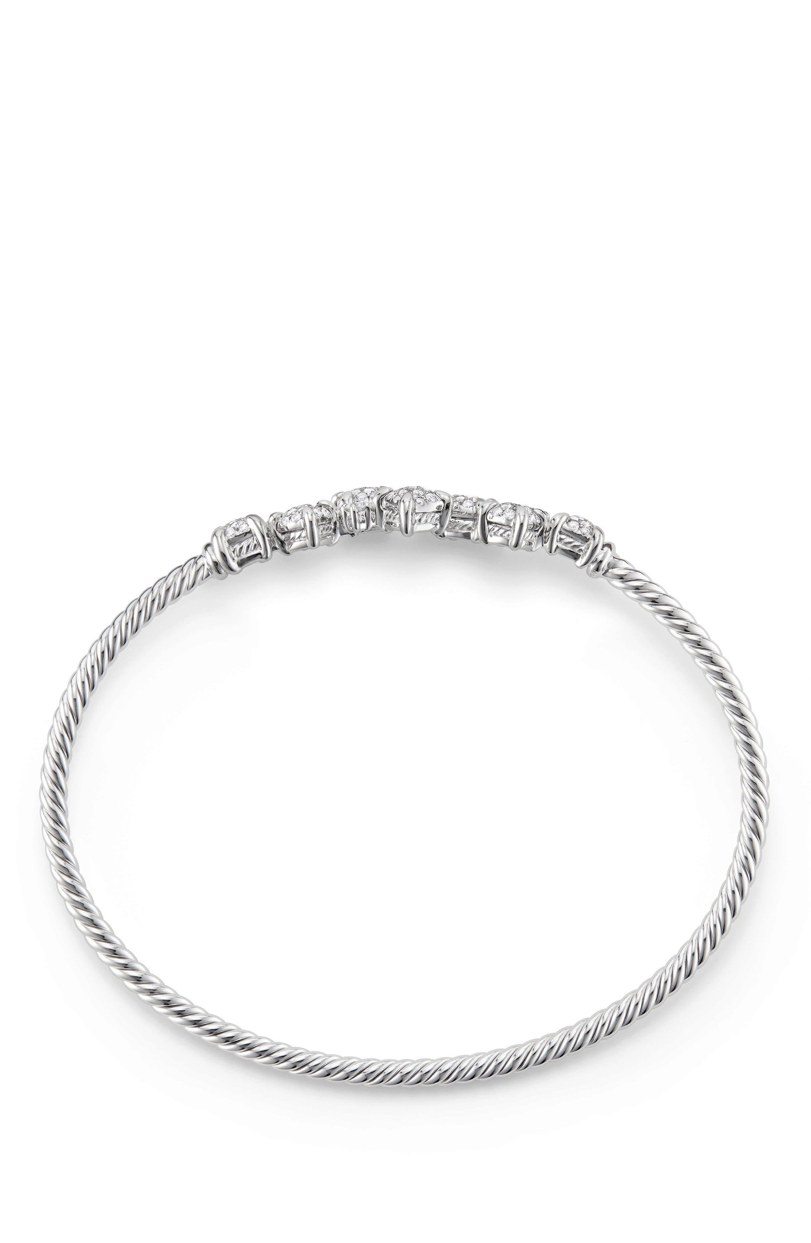 Precious Châtelaine Bracelet with Diamonds in 18K Gold,                             Alternate thumbnail 2, color,                             WHITE GOLD/ DIAMOND