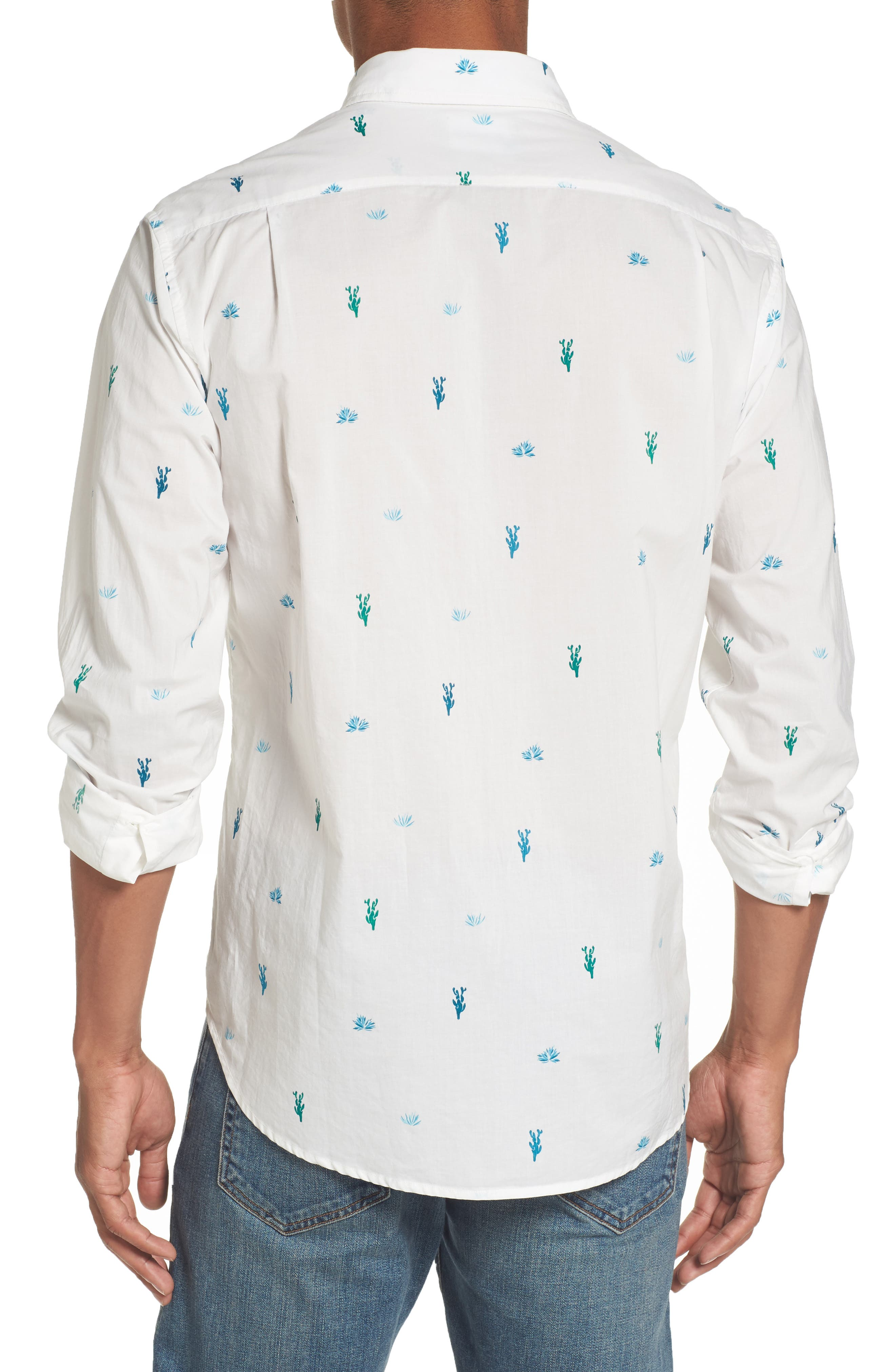 Slim Fit Summerweight Print Sport Shirt,                             Alternate thumbnail 2, color,                             100