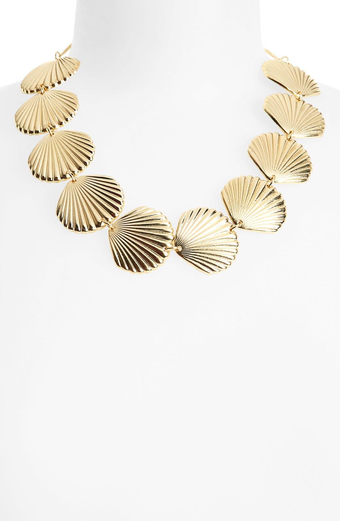 TOPSHOP,                             Shell Collar Necklace,                             Main thumbnail 1, color,                             710