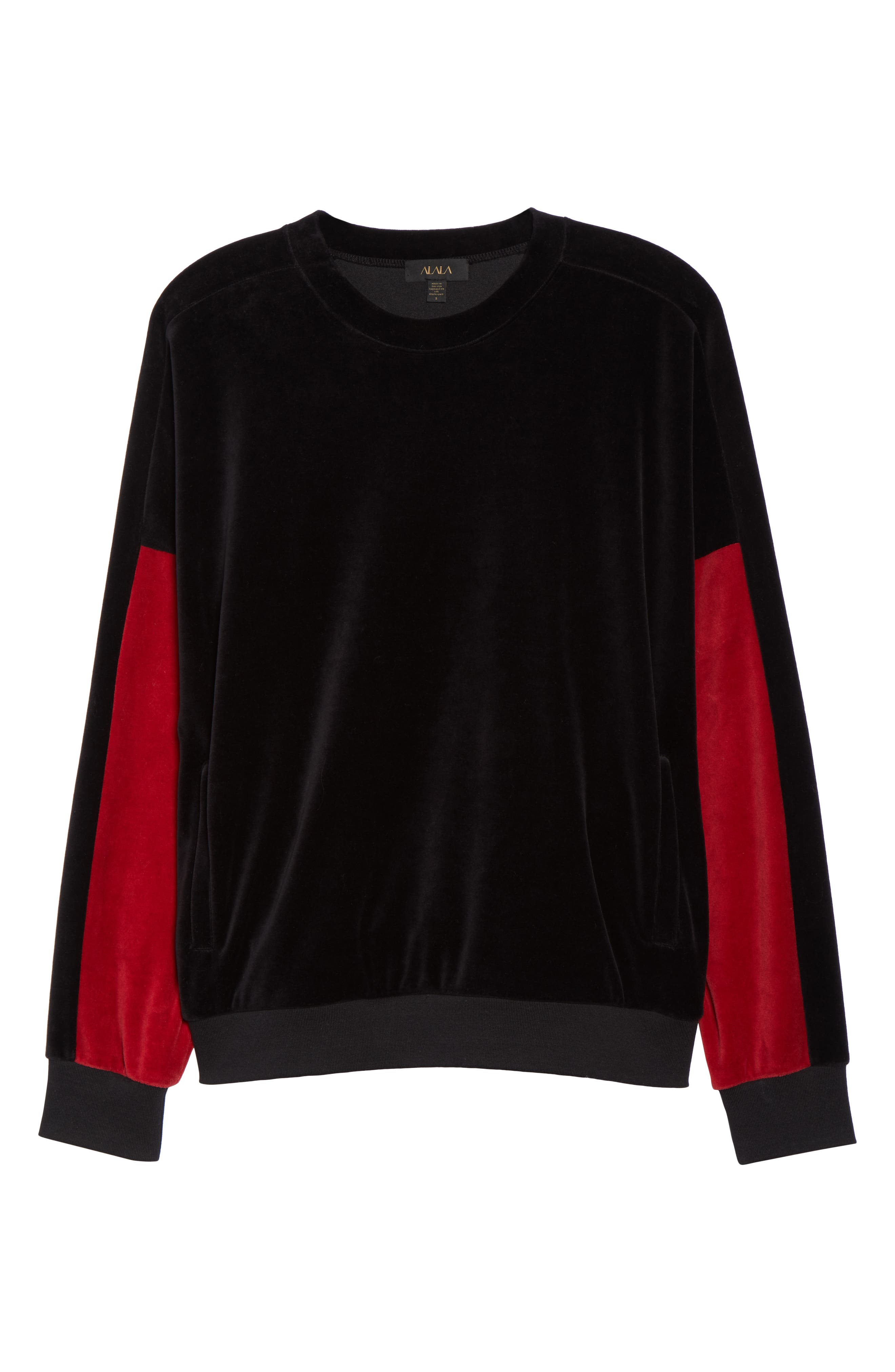Velour Crewneck Sweater,                             Alternate thumbnail 7, color,                             BLACK/ CRIMSON