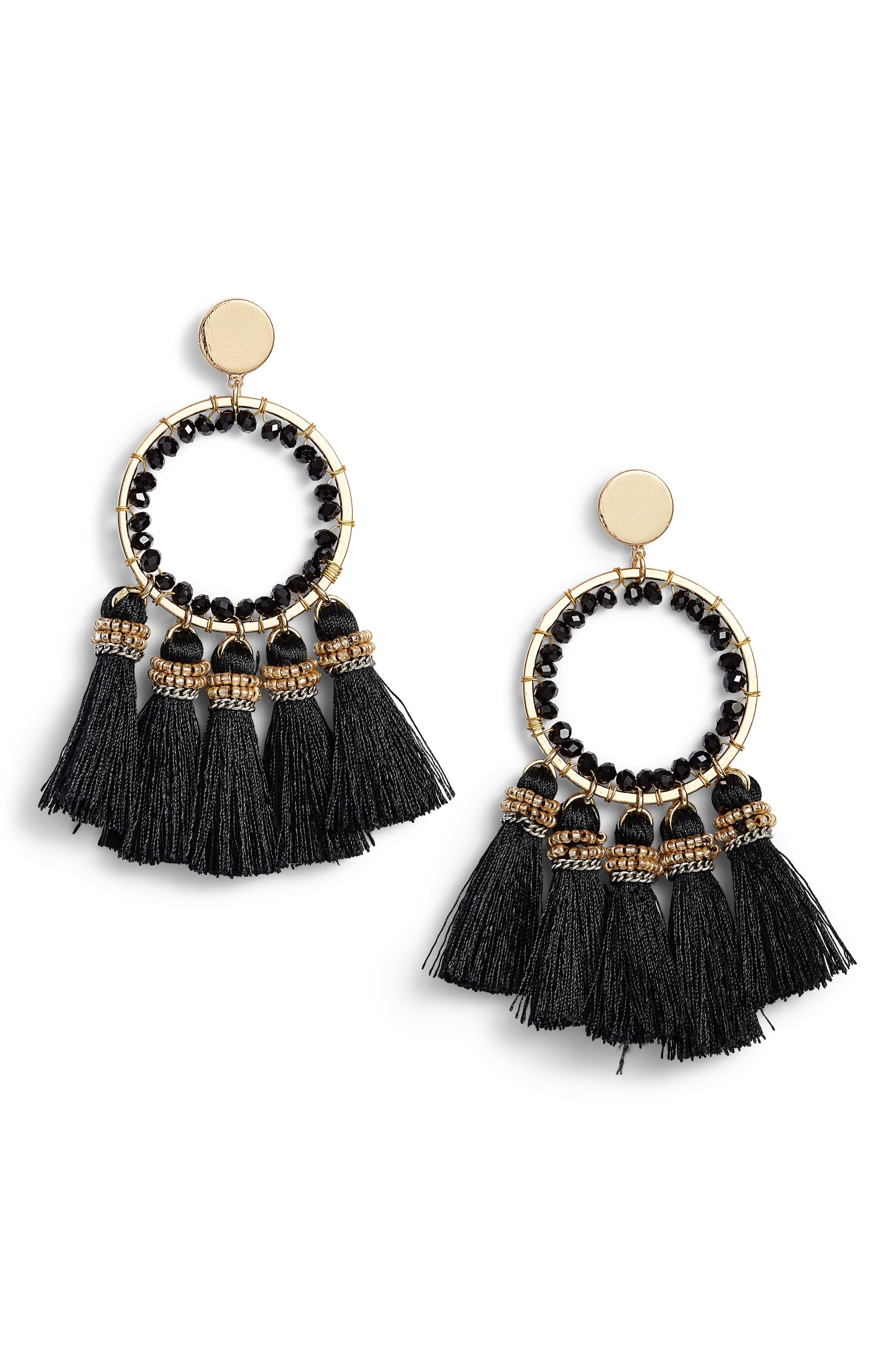 Tassel Hoop Earrings,                         Main,                         color, 001