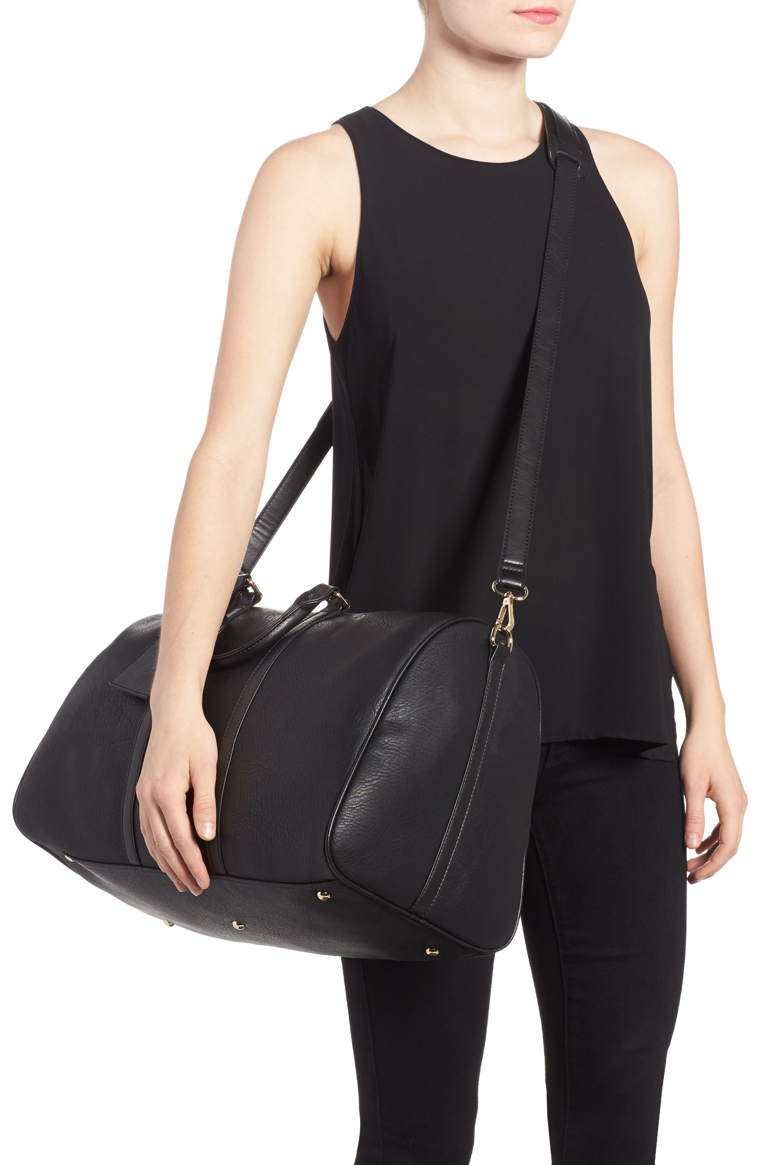 'Cassidy' Faux Leather Duffel Bag,                             Alternate thumbnail 2, color,                             002
