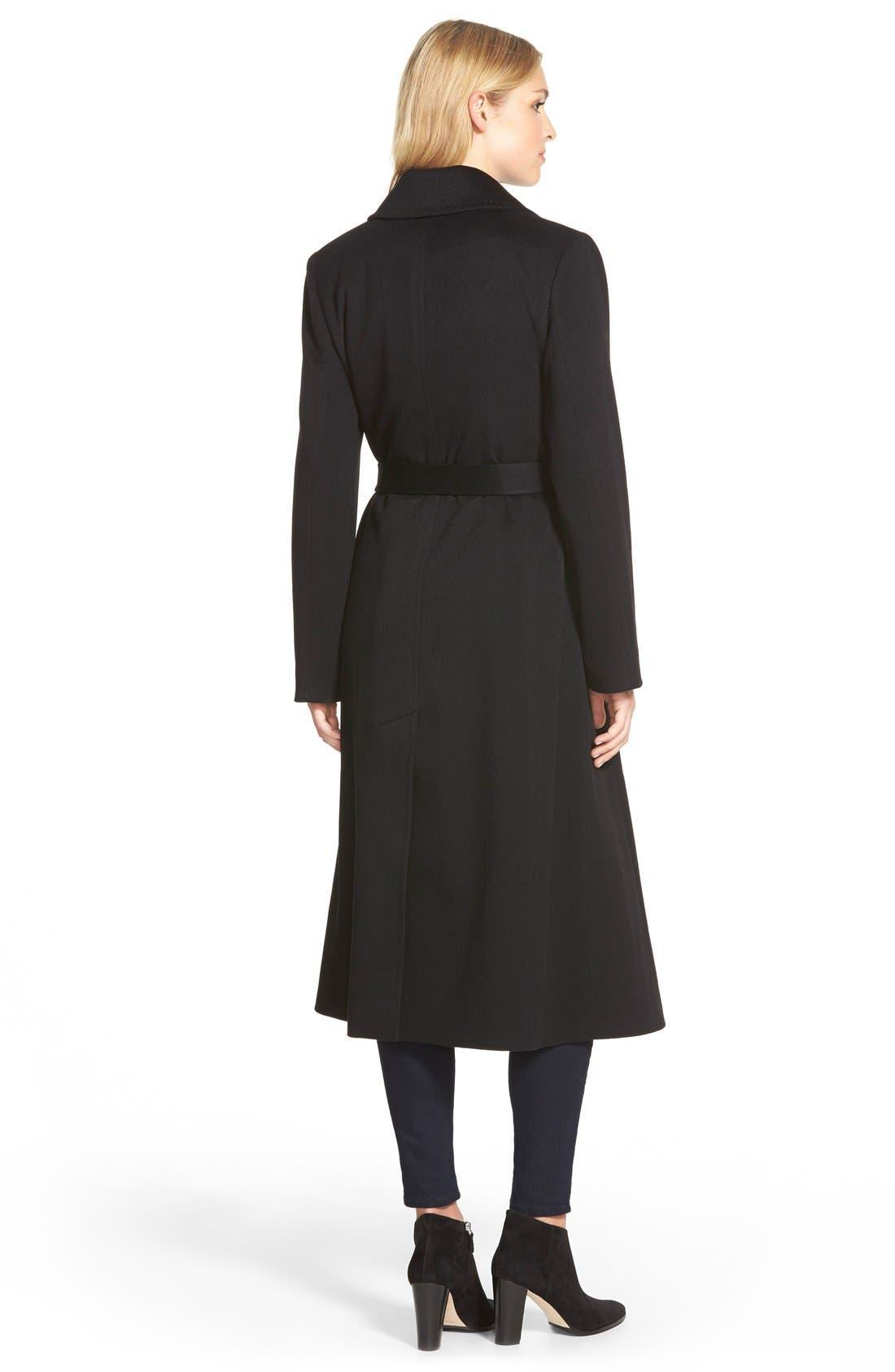 Notch Collar Long Cashmere Wrap Coat,                             Alternate thumbnail 2, color,                             001