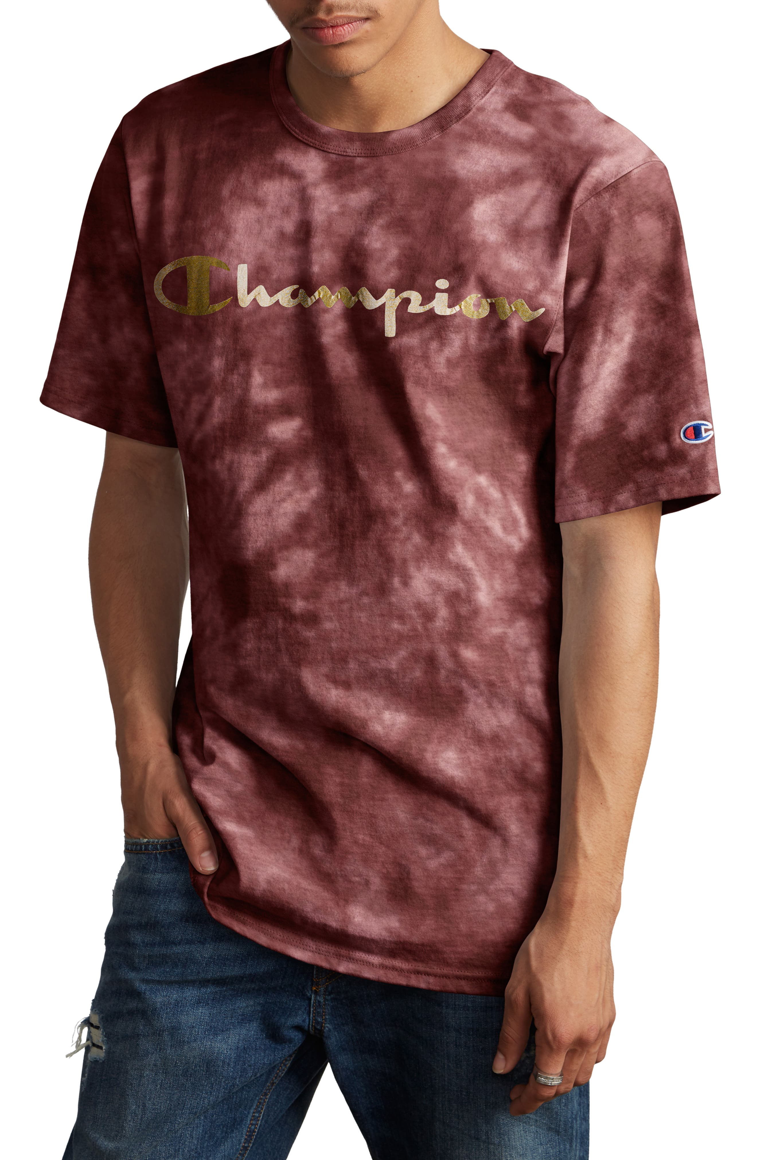Scrunch Dye Heritage T-Shirt, Main, color, MULLED BERRY