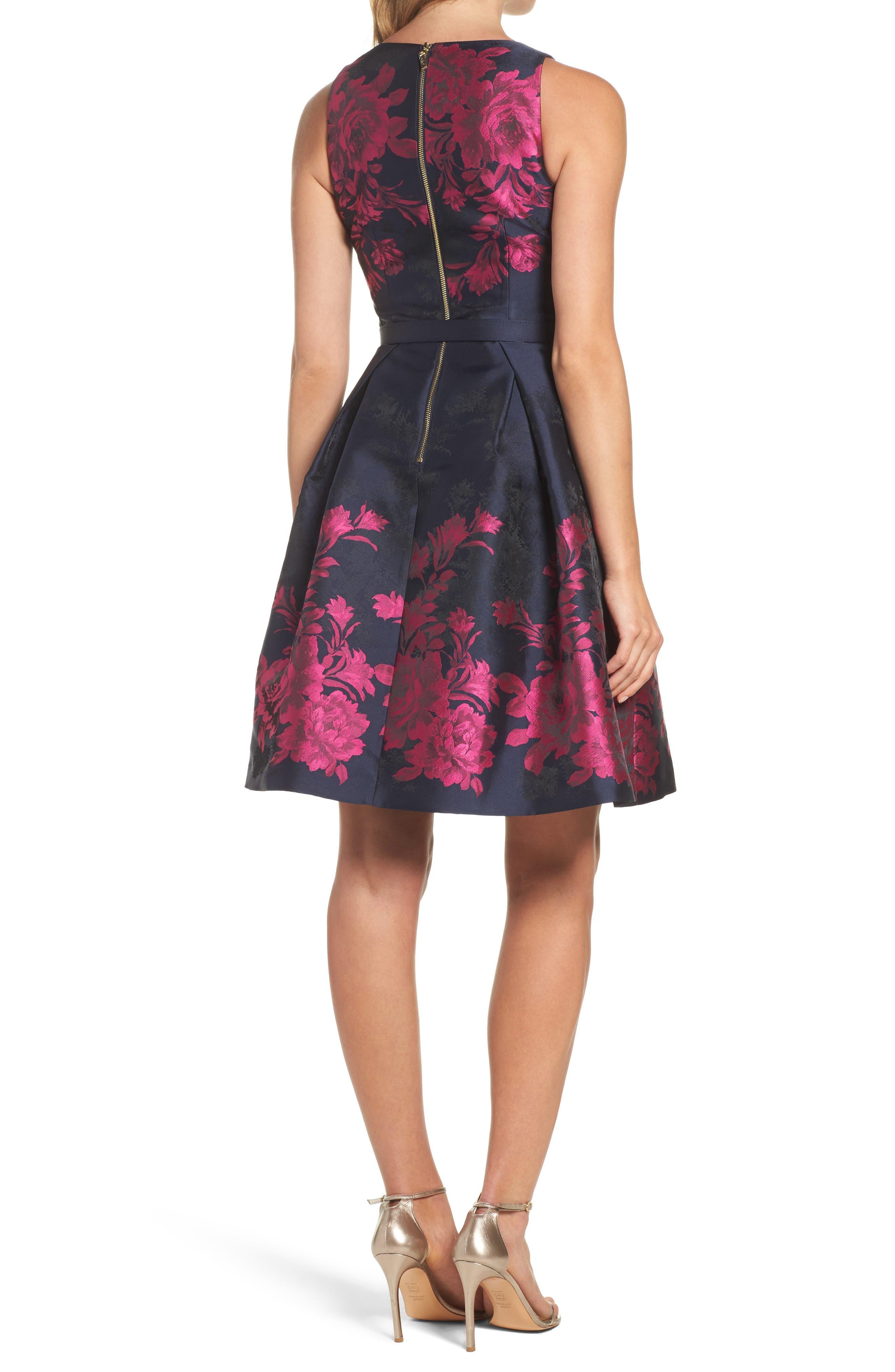 Floral Jacquard Fit & Flare Dress,                             Alternate thumbnail 2, color,
