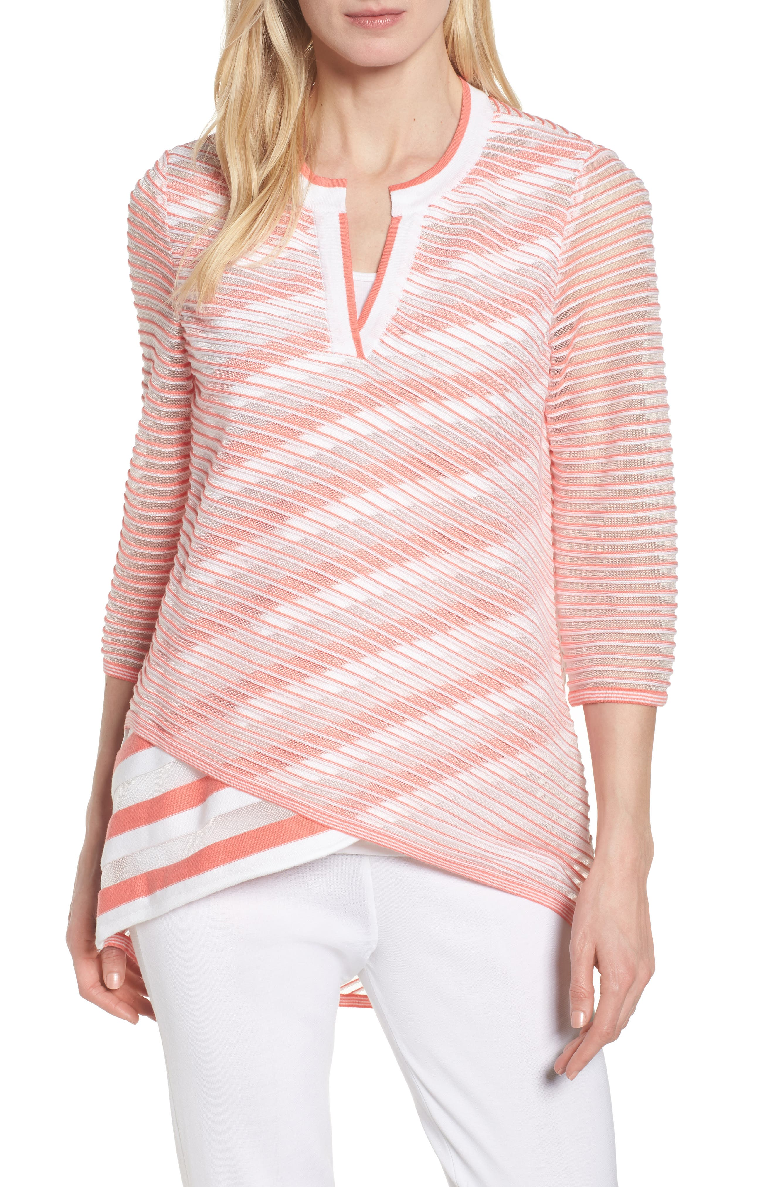 Sheer Stripe Knit Tunic,                         Main,                         color, DAYLILY/ WHITE