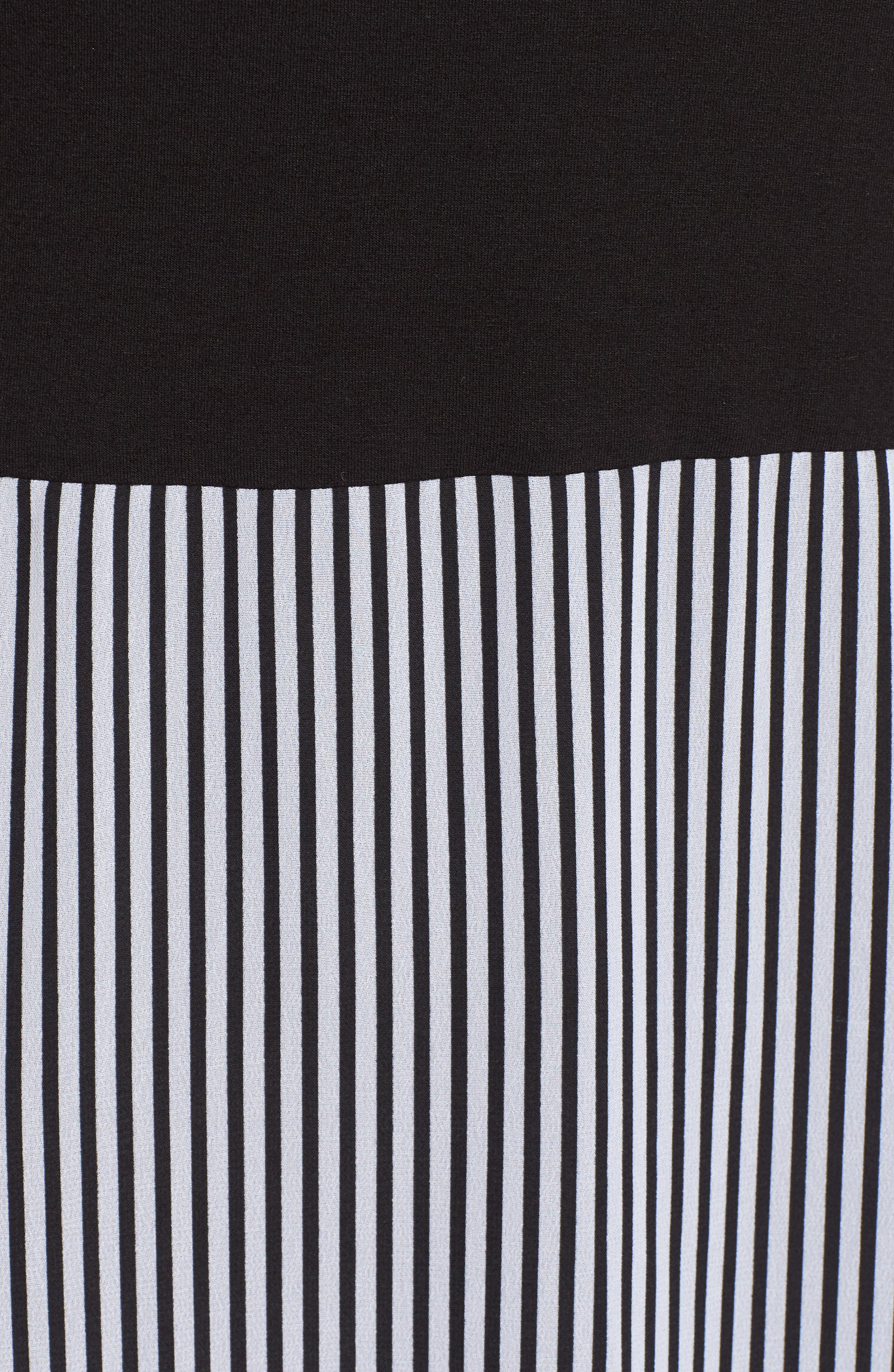 Stripe Chiffon Overlay Maxi Dress,                             Alternate thumbnail 6, color,                             RICH BLACK