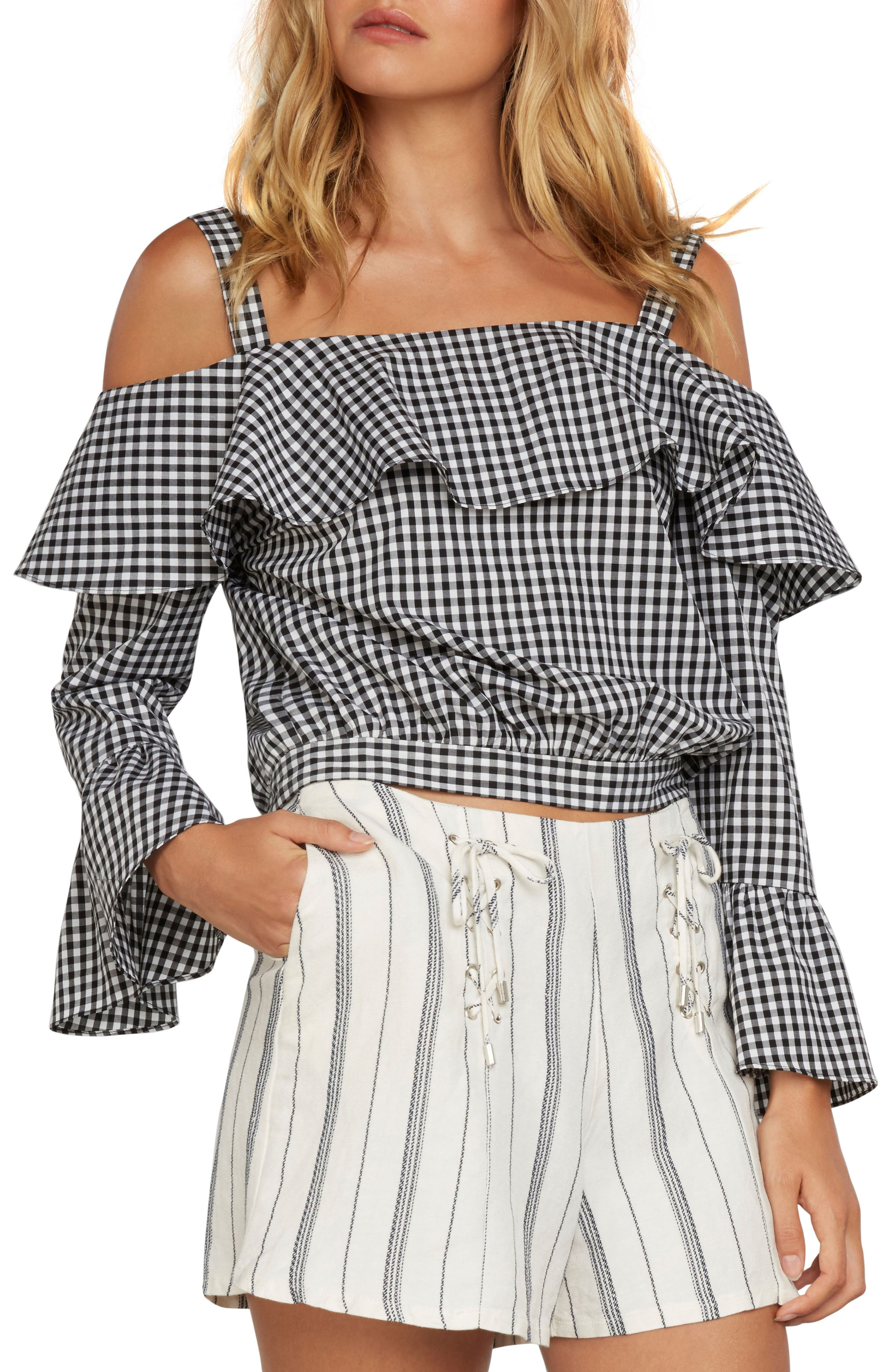 Gingham Cold Shoulder Top,                             Main thumbnail 1, color,                             001