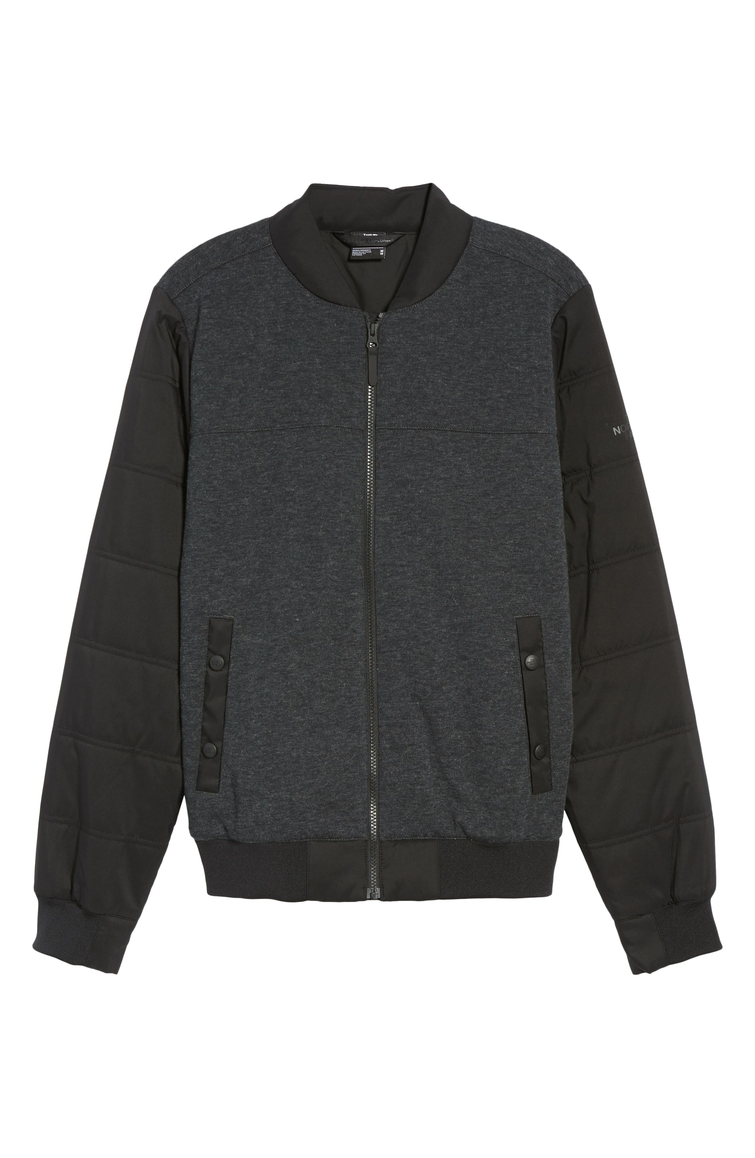 Far Northern Hybrid Bomber Jacket,                             Alternate thumbnail 5, color,                             DARK GREY HEATHER/ BLACK