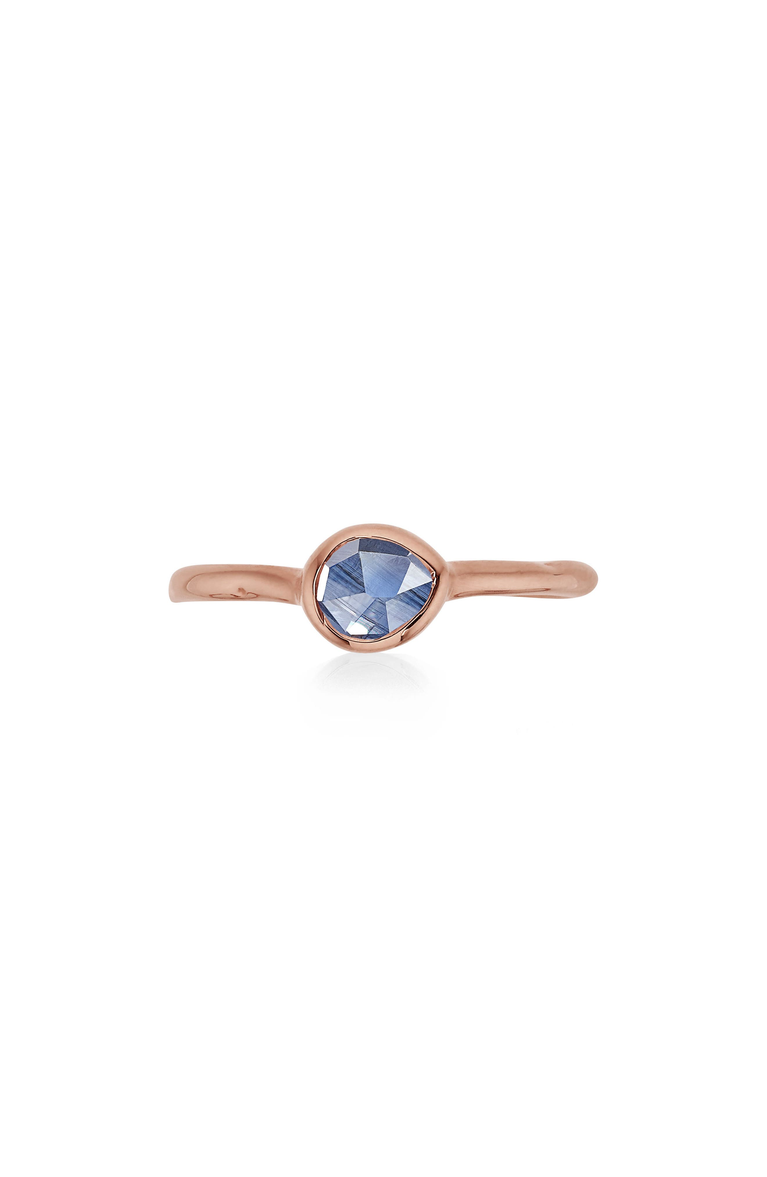 'Siren' Small Stacking Ring,                         Main,                         color, ROSE GOLD/ KYANITE