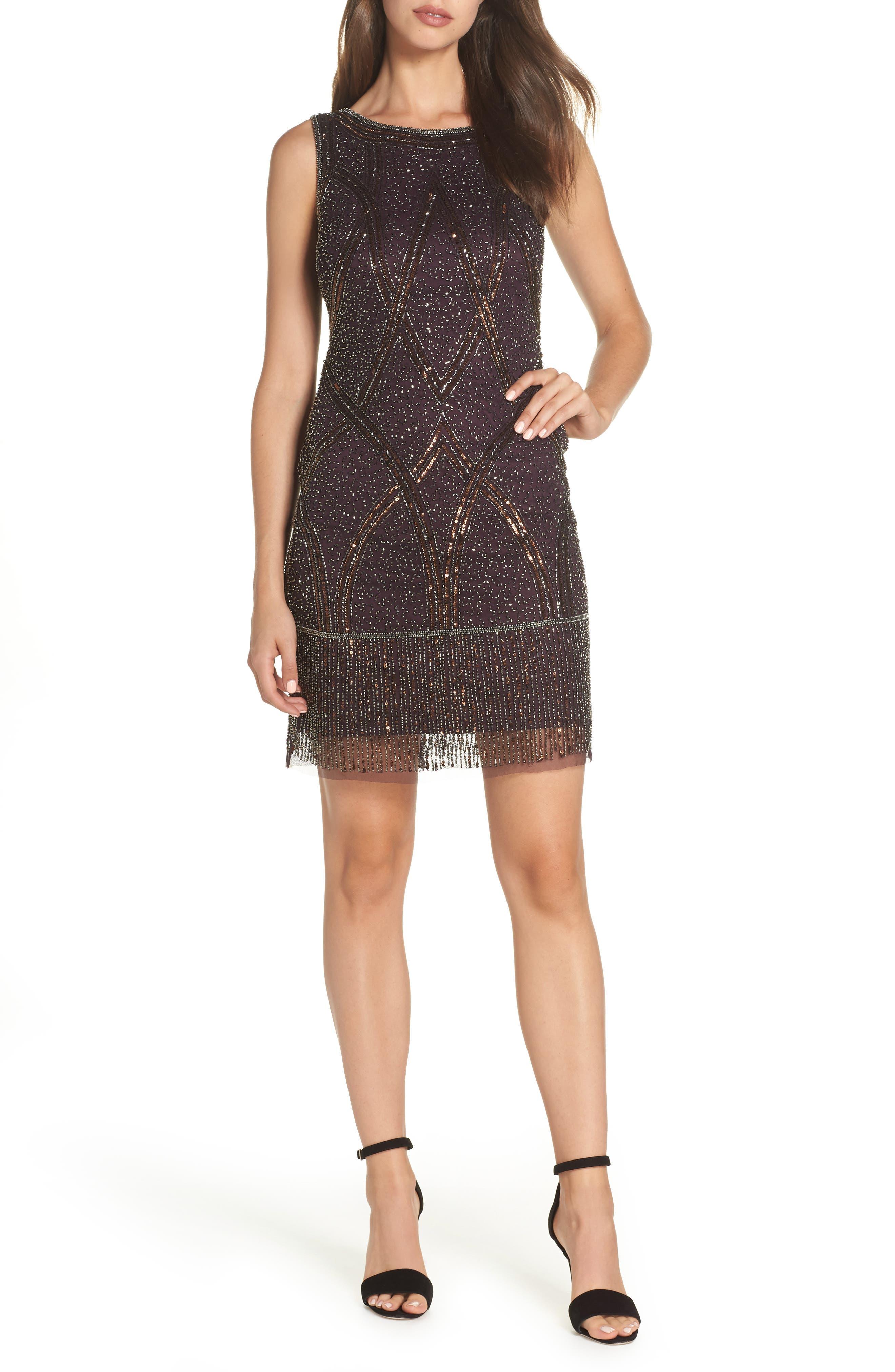 Beaded Fringe Hem Sheath Dress,                         Main,                         color, WINE