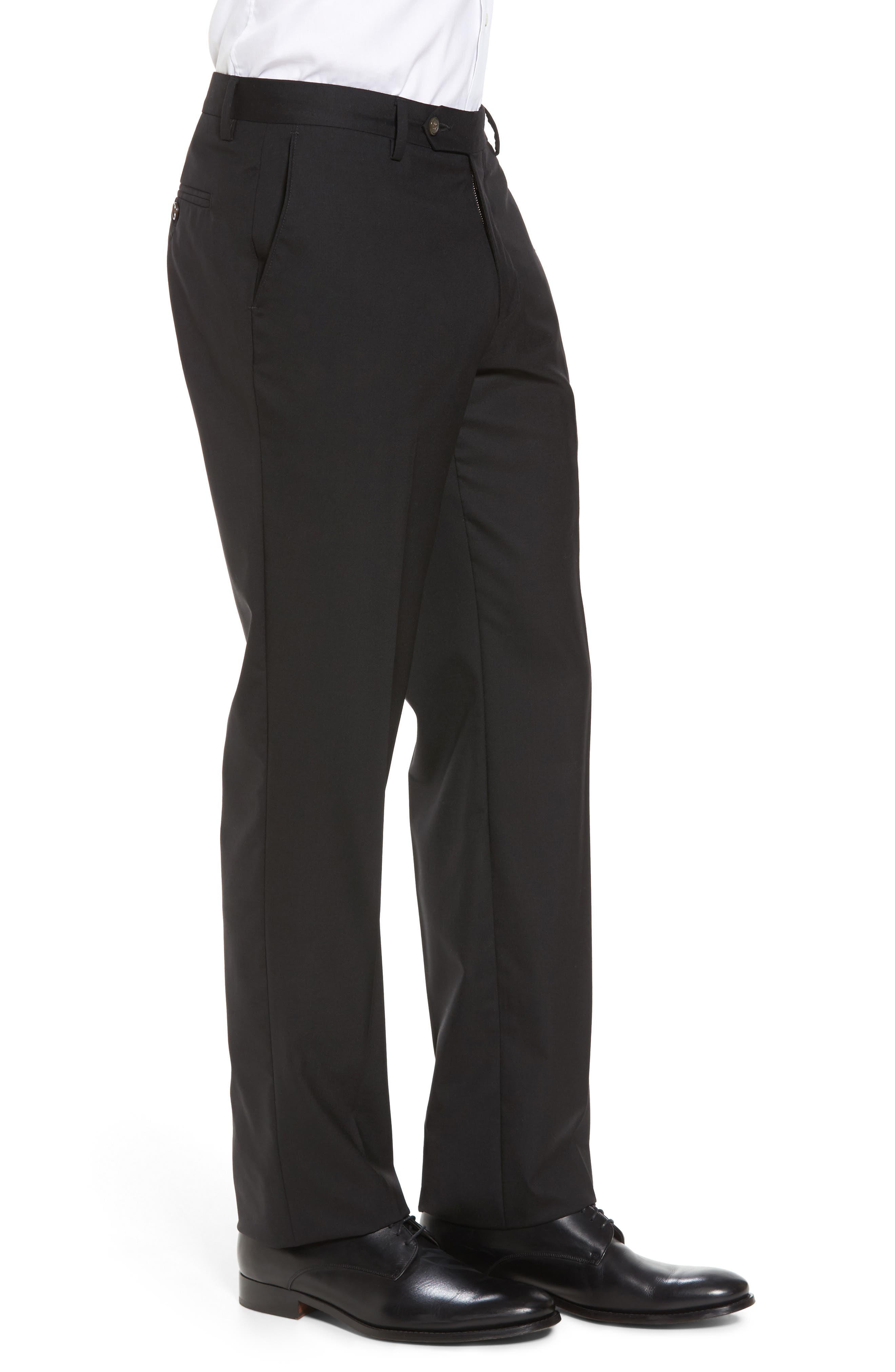 BERLE,                             Flat Front Stretch Solid Wool Trousers,                             Alternate thumbnail 4, color,                             001