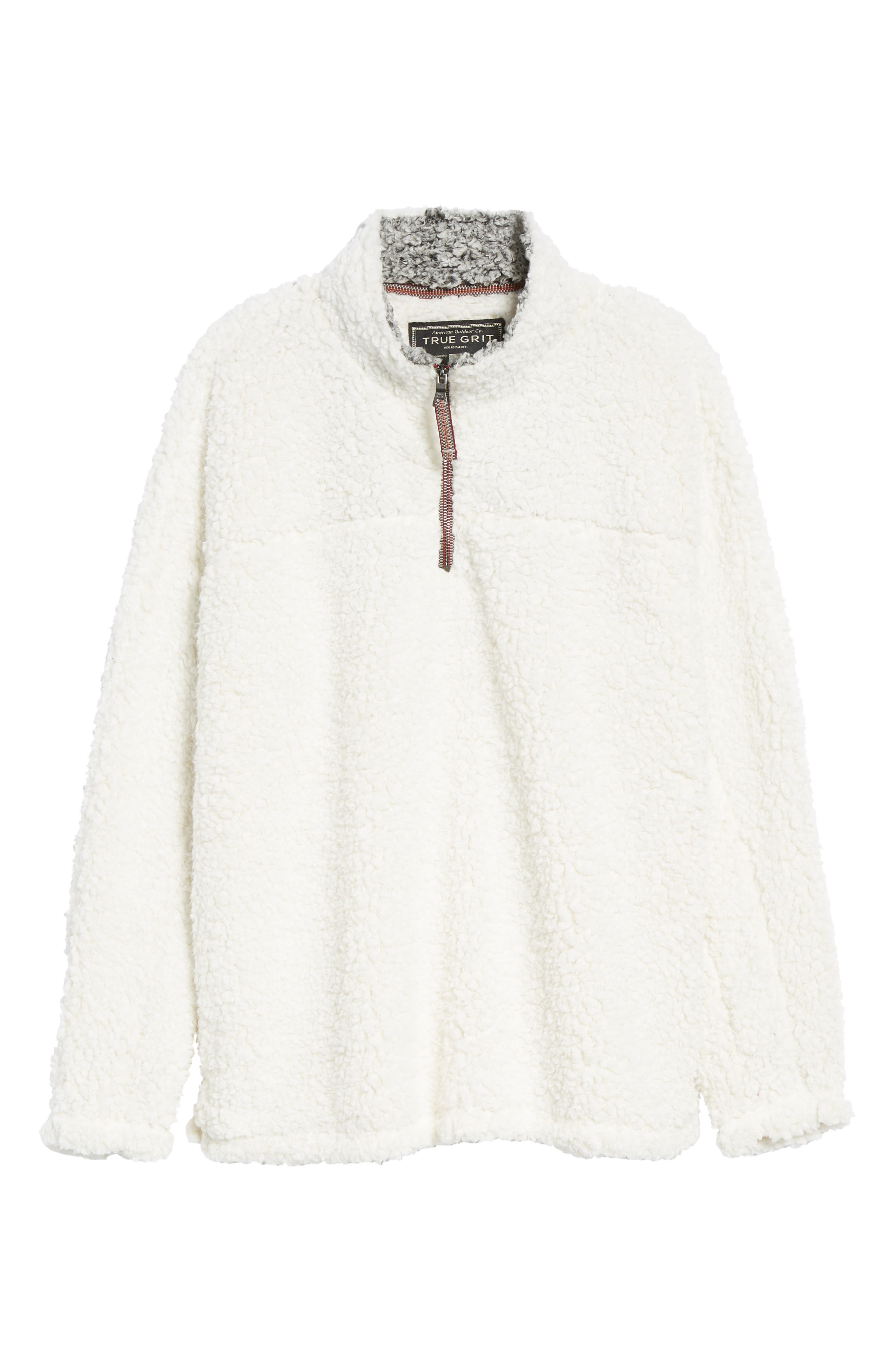 Frosty Tipped Quarter Zip Pullover,                             Alternate thumbnail 6, color,                             IVORY