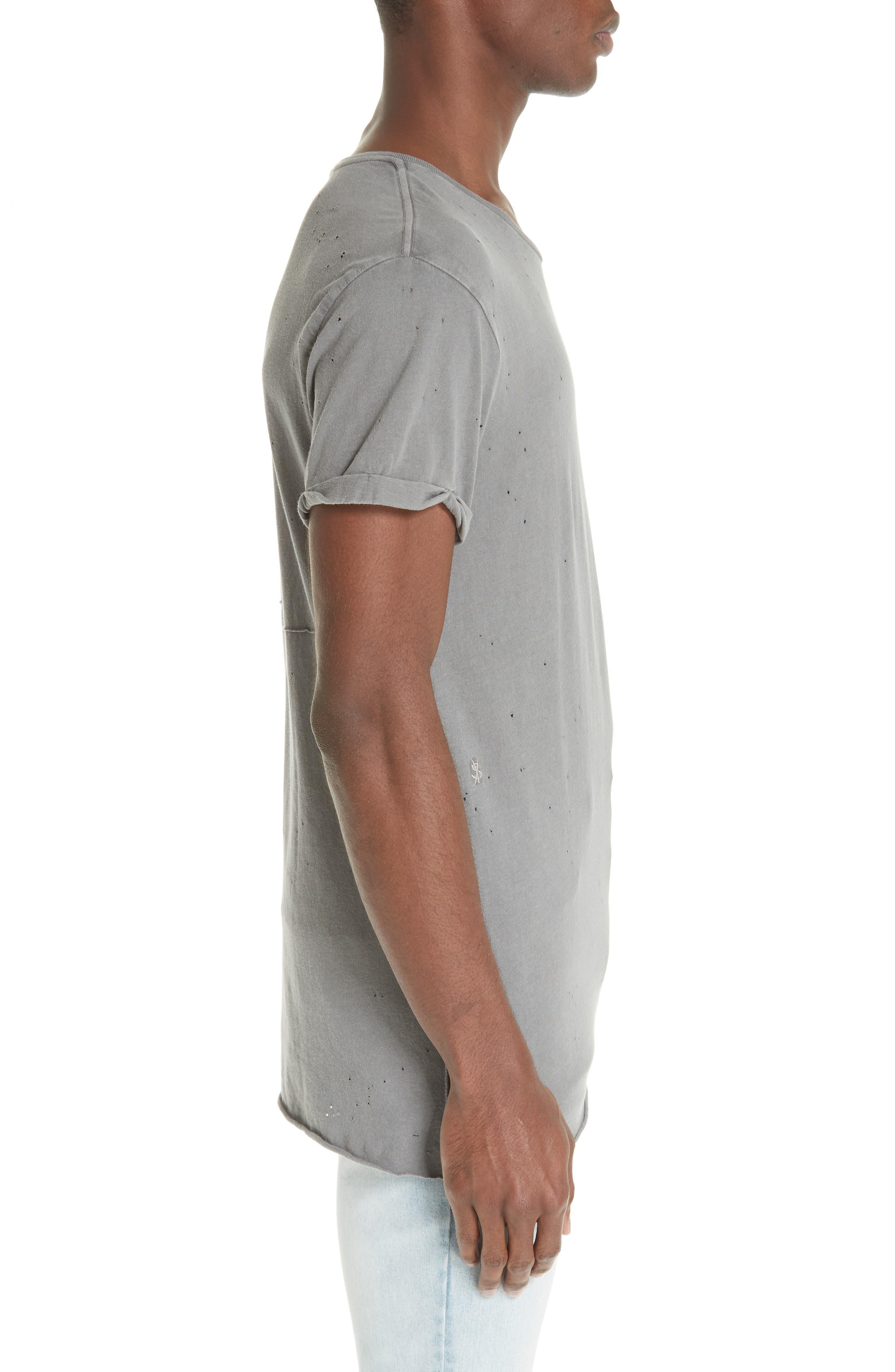 Kodeine Distressed T-Shirt,                             Alternate thumbnail 3, color,                             GREY