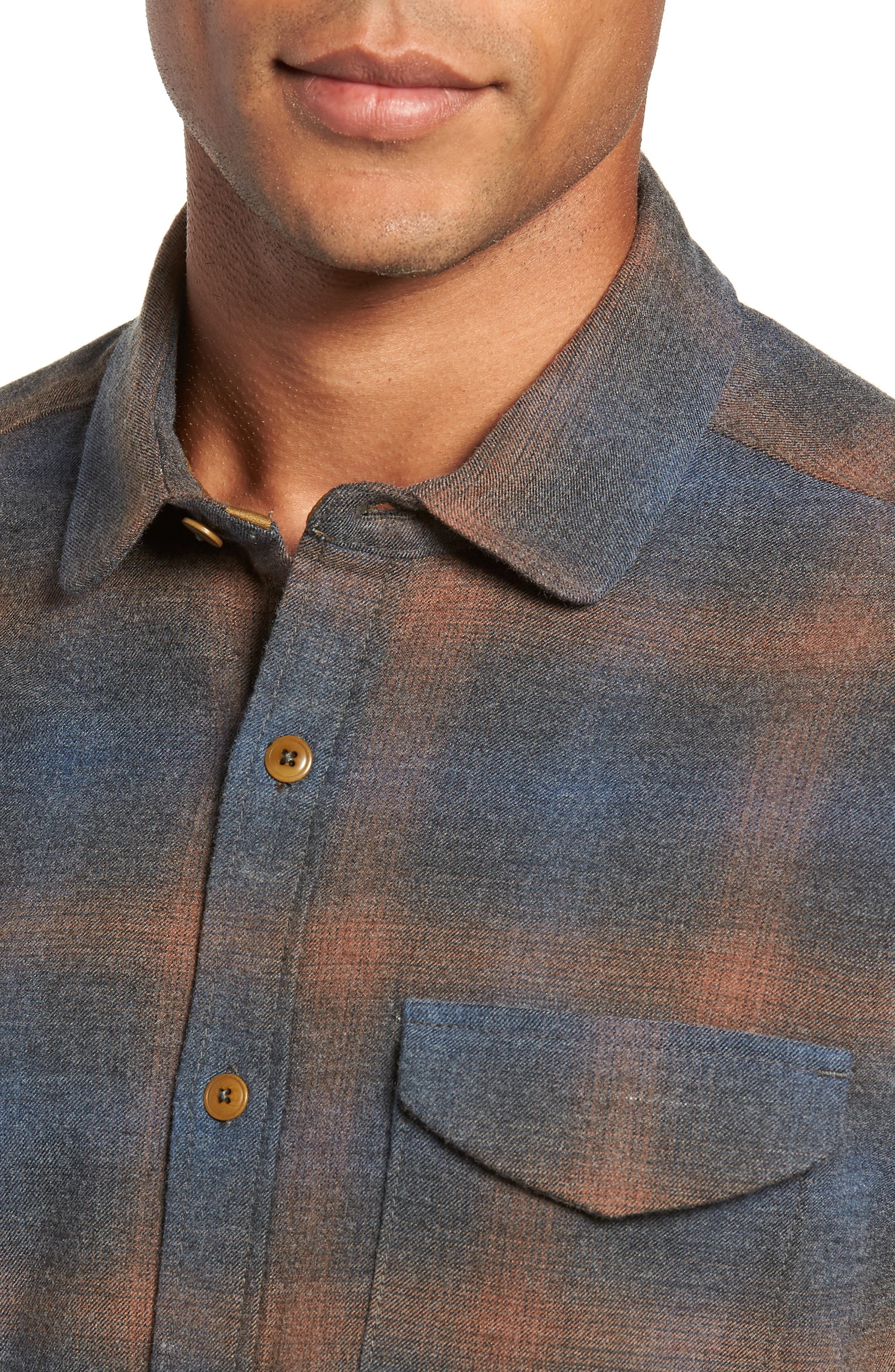 Washburn Regular Fit Plaid Stretch Brushed Flannel Shirt,                             Alternate thumbnail 2, color,                             BLUE WING TEAL HEATHER