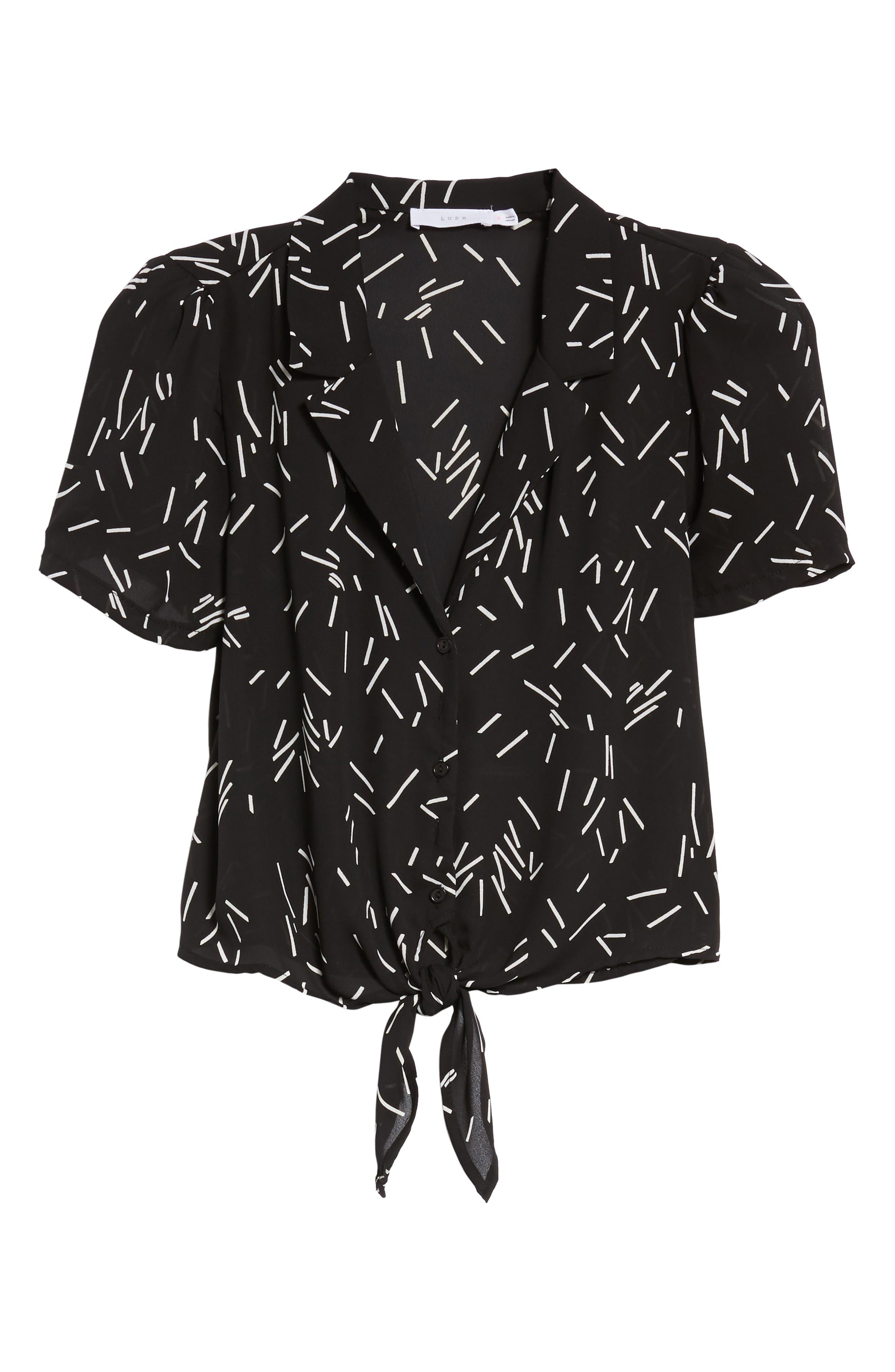 Tie Front Camp Shirt,                             Alternate thumbnail 6, color,                             001