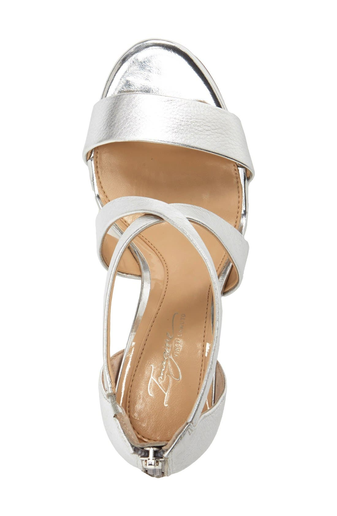 'Pascal 2' Strappy Evening Sandal,                             Alternate thumbnail 4, color,                             PLATINUM LEATHER