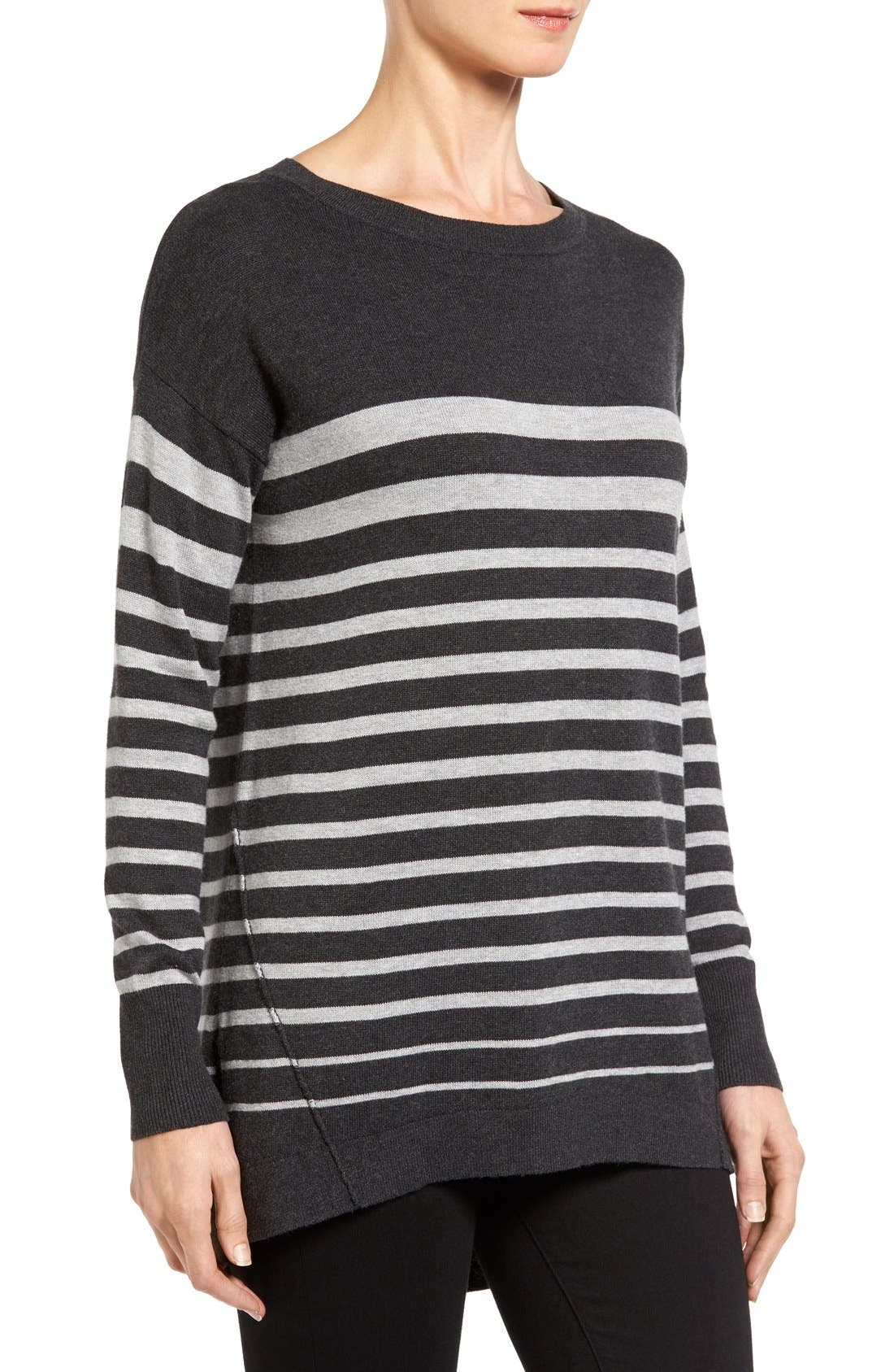 Zip Back High/Low Tunic Sweater,                             Alternate thumbnail 3, color,                             HEATHER CHARCOAL- GREY STRIPE