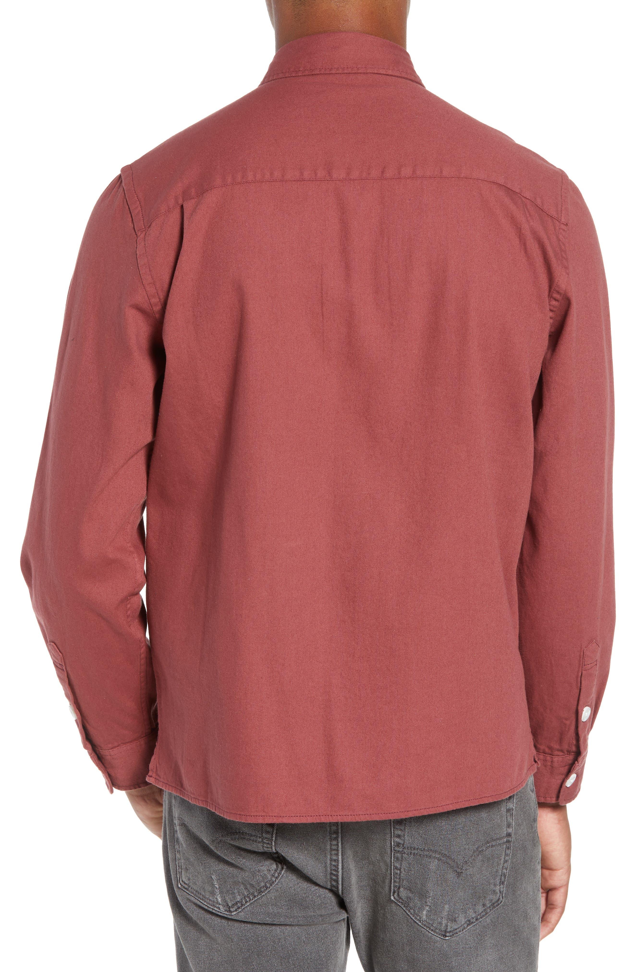 Nolan Washed Denim Sport Shirt,                             Alternate thumbnail 3, color,                             LIGHT PLUM