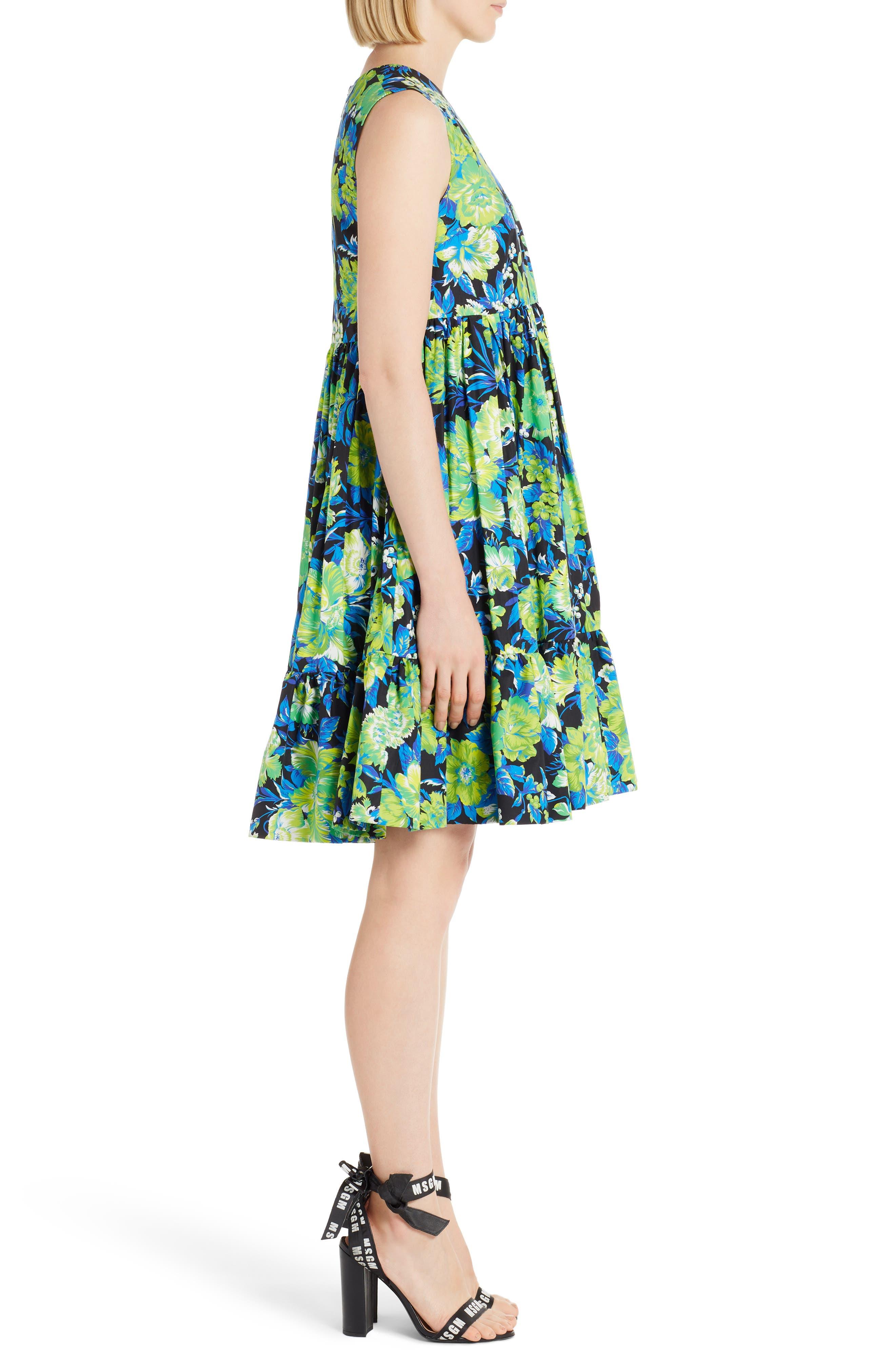 Floral Print A-Line Dress,                             Alternate thumbnail 3, color,                             009