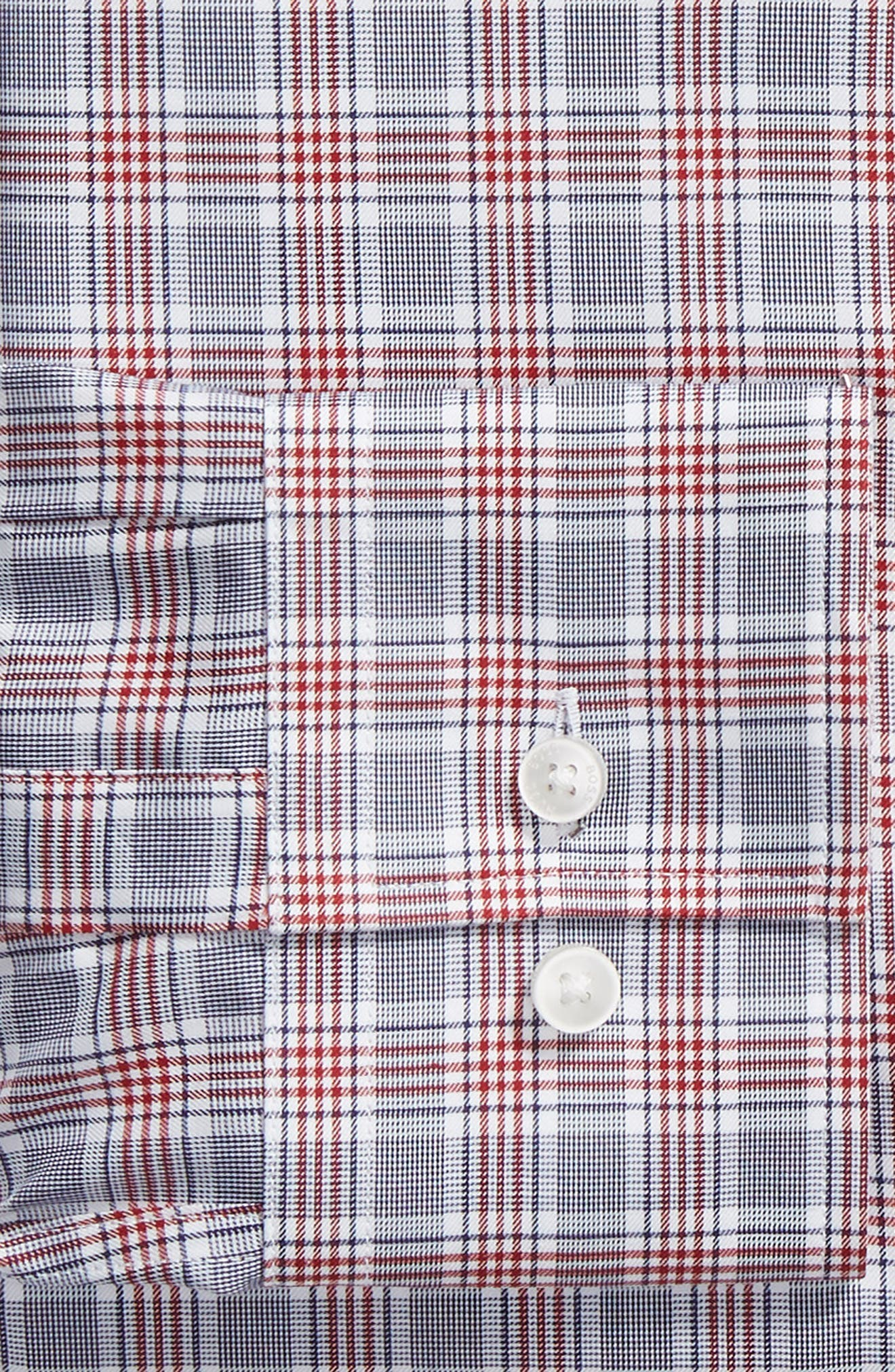 Jason Slim Fit Plaid Dress Shirt,                             Alternate thumbnail 6, color,                             DARK RED