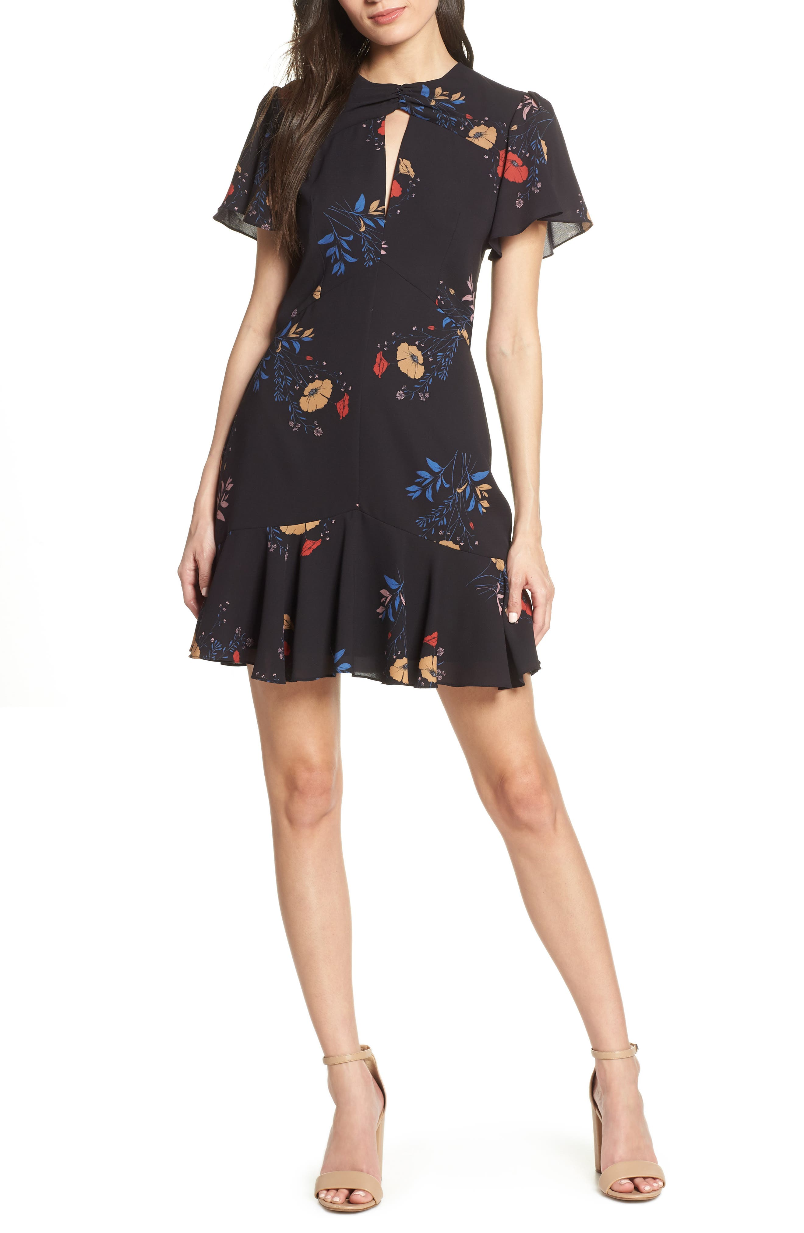 Cooper St Go-Go Flutter Sleeve Georgette Dress, Black
