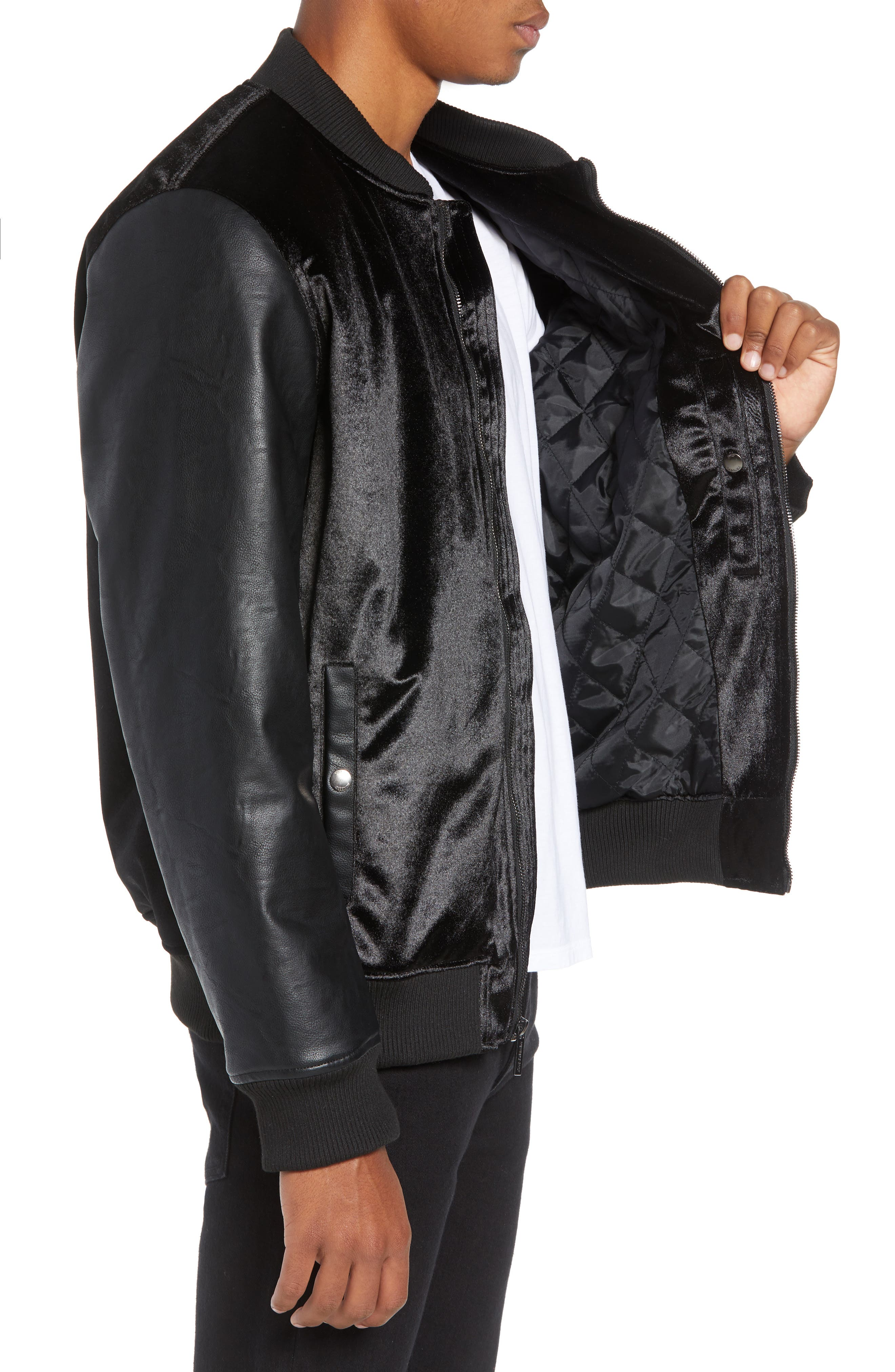 Velvet Bomber Jacket with Faux Leather Sleeves,                             Alternate thumbnail 3, color,                             BLACK