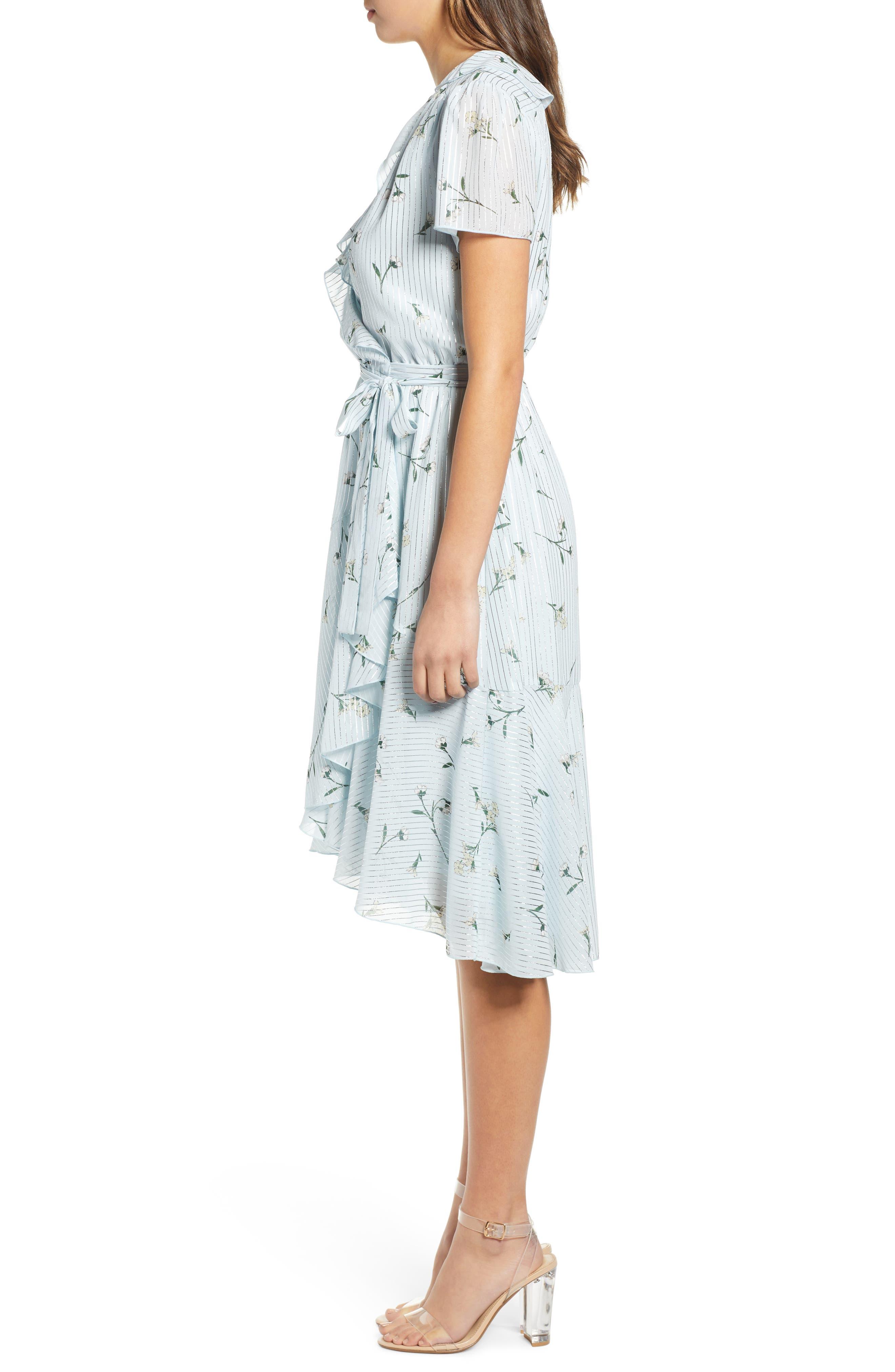 Sutton Wrap Dress,                             Alternate thumbnail 3, color,                             SKY BLUE FLORAL