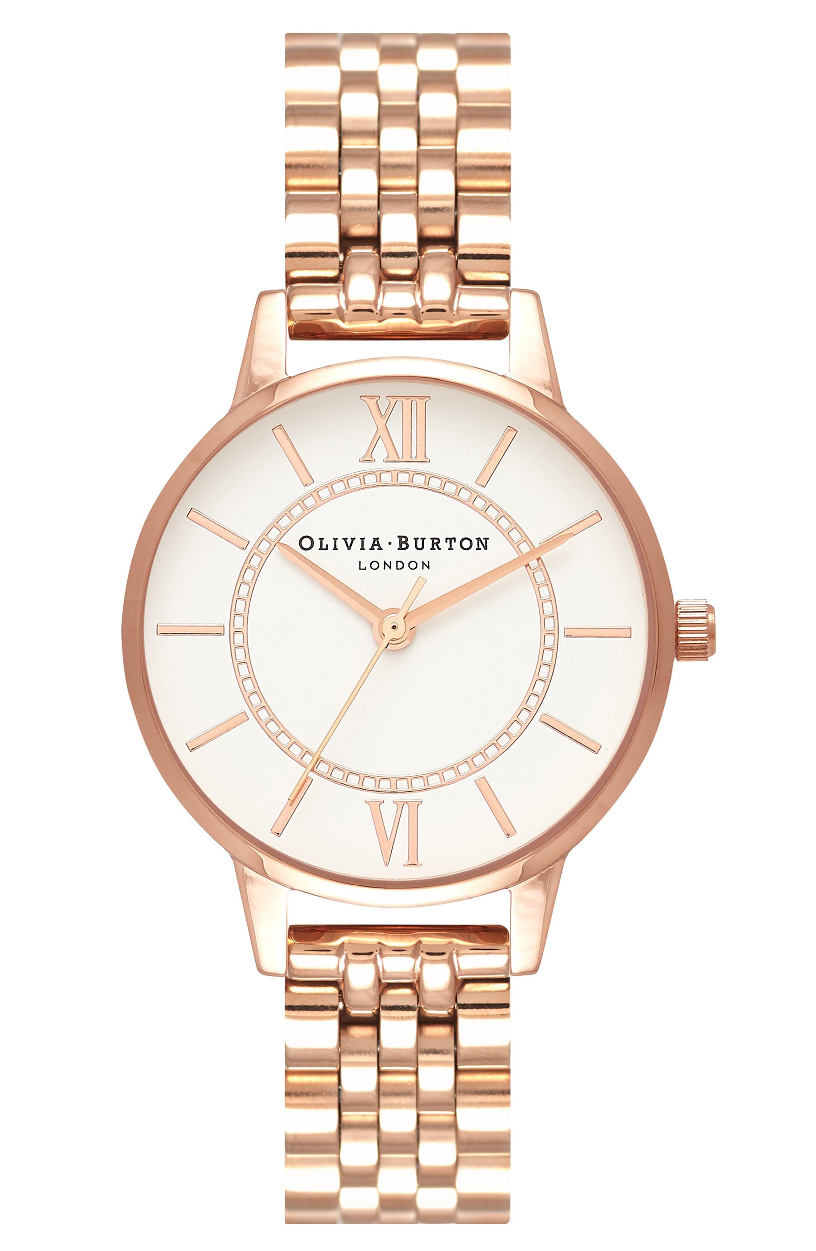 OLIVIA BURTON,                             Wonderland Bracelet Watch, 30mm,                             Main thumbnail 1, color,                             ROSE GOLD/ HITE/ ROSE GOLD