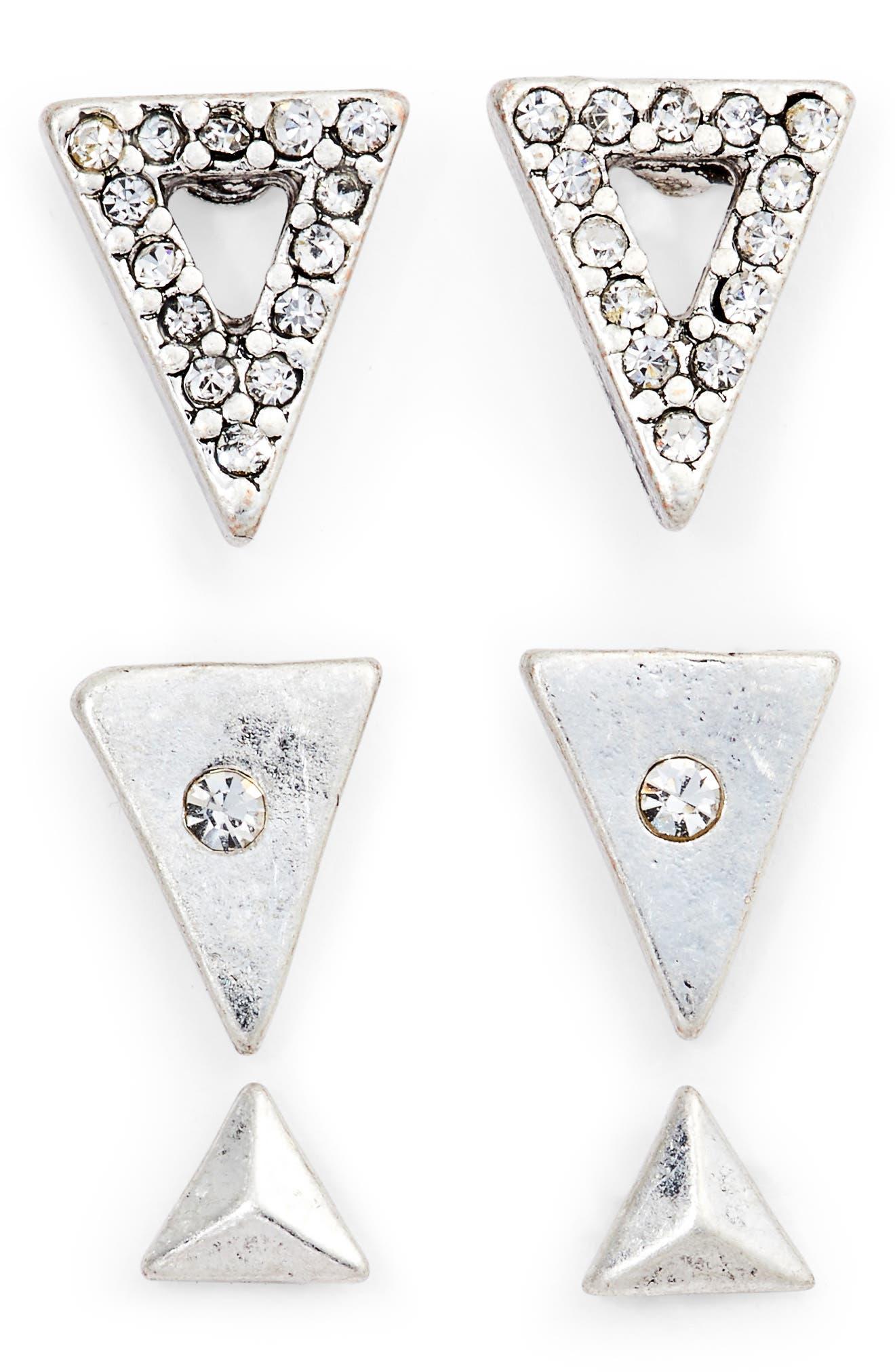 Set of 3 Triangle Stud Earrings,                         Main,                         color,