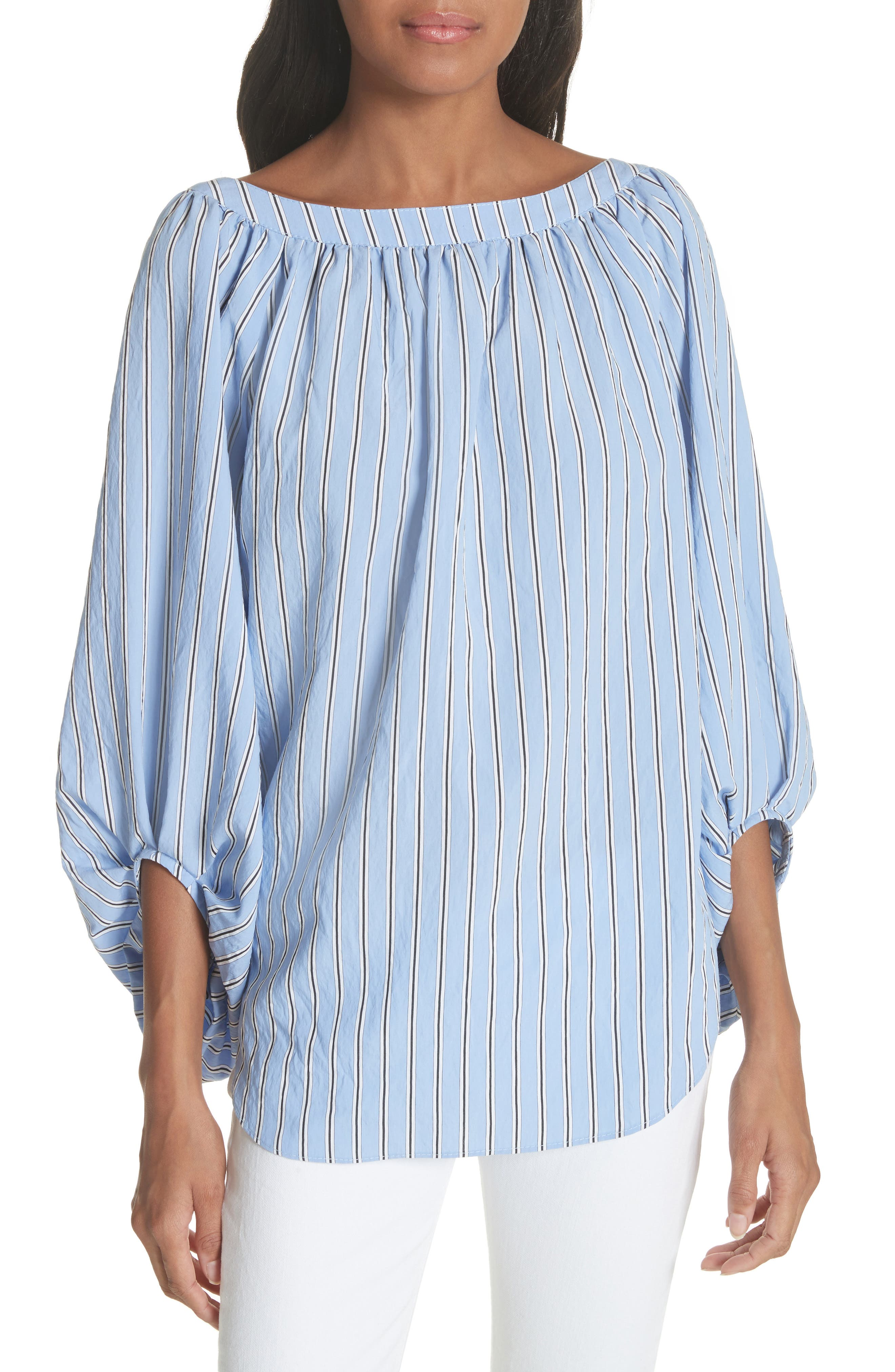 Stripe Balloon Sleeve Blouse,                         Main,                         color, 450