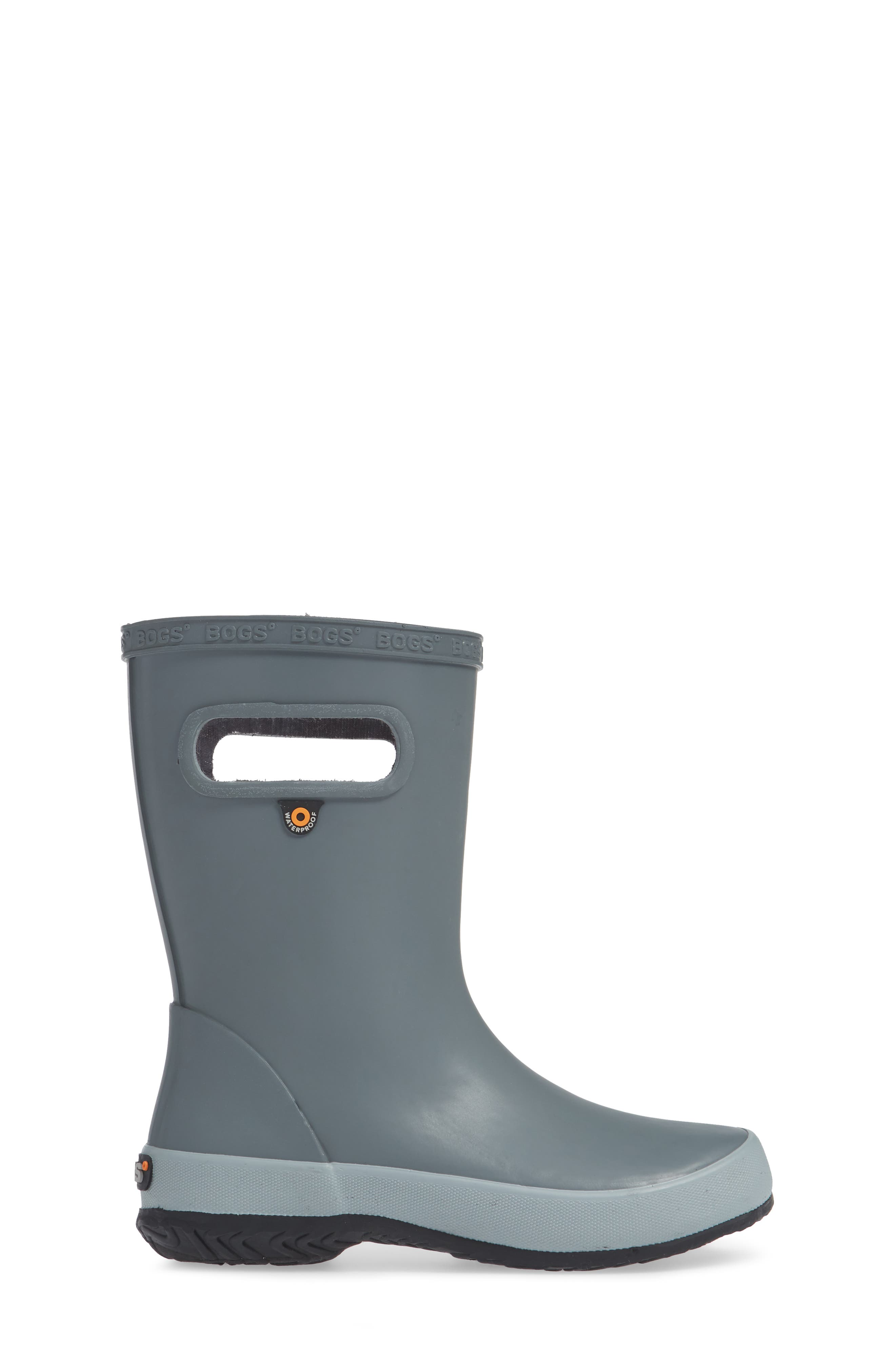 Skipper Solid Rubber Rain Boot,                             Alternate thumbnail 3, color,                             GRAY