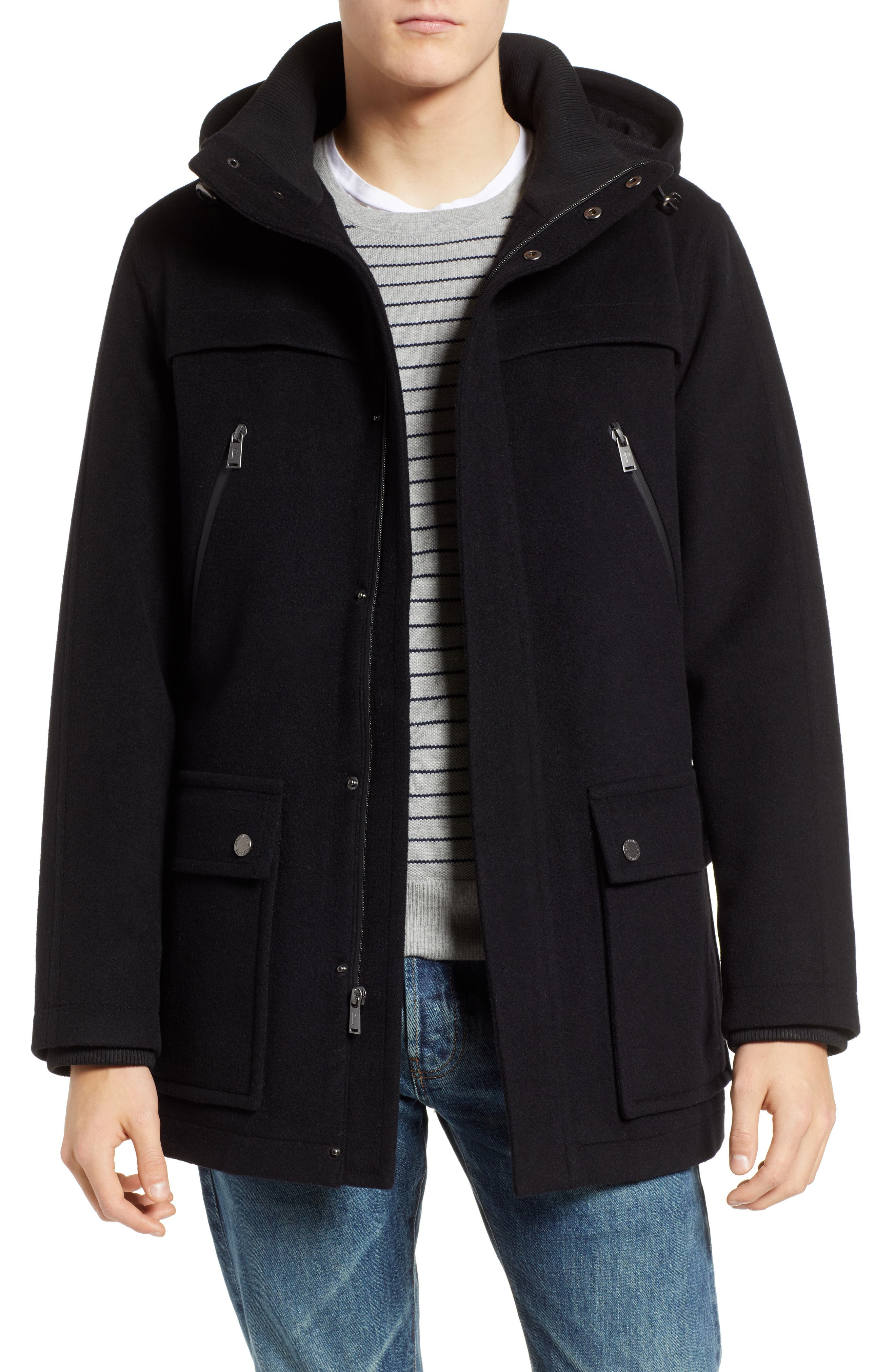 Bainbridge Water Repellent Wool Blend Metro Coat,                         Main,                         color, BLACK