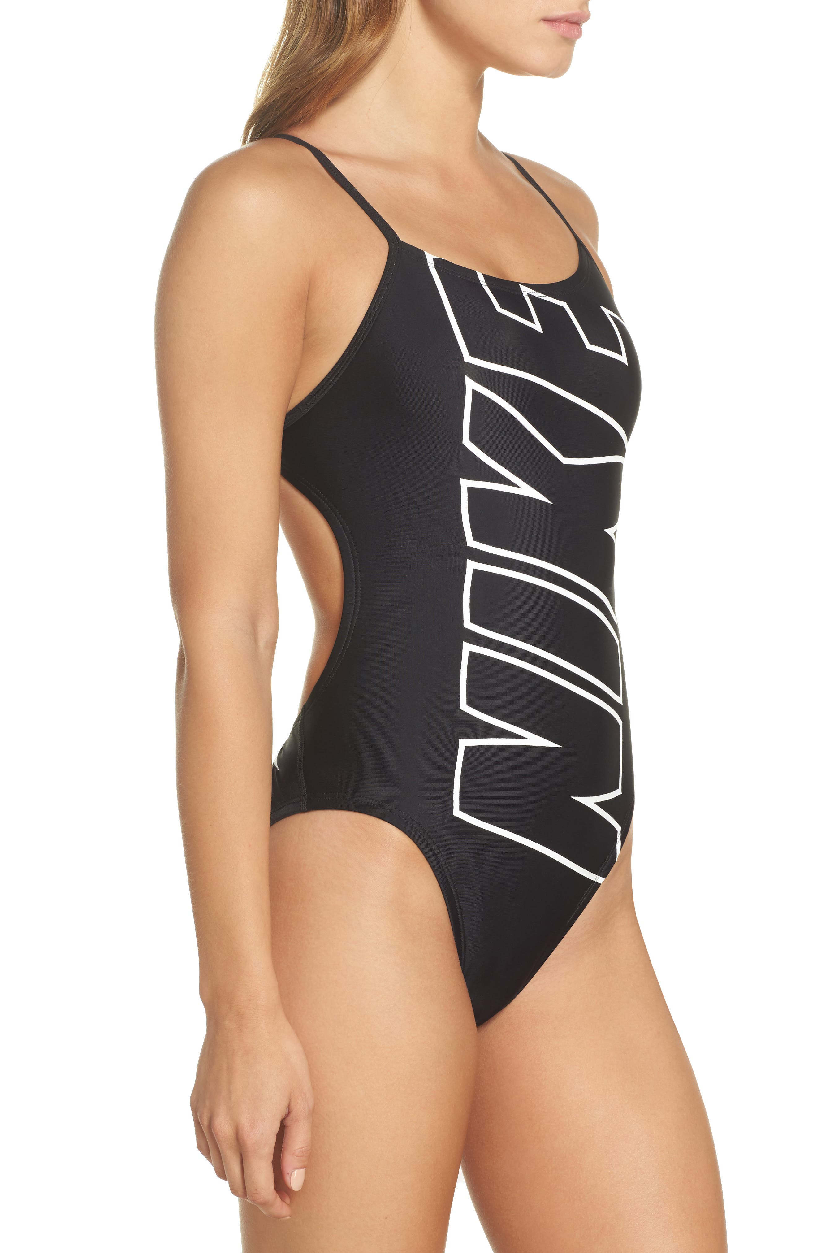 NIKE,                             Crossback One-Piece Swimsuit,                             Alternate thumbnail 3, color,                             001