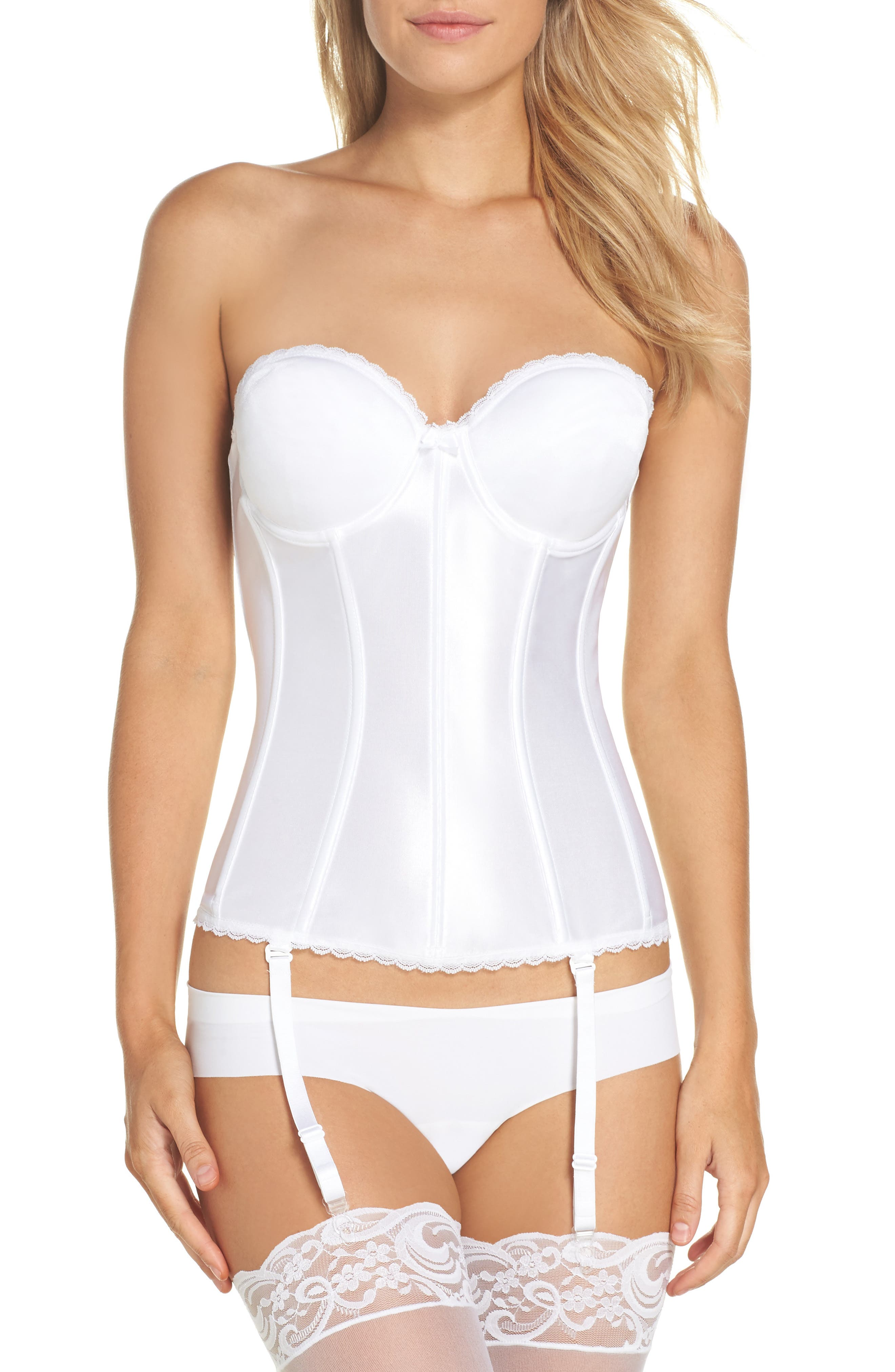 Smooth Satin Hourglass Bustier,                             Alternate thumbnail 2, color,