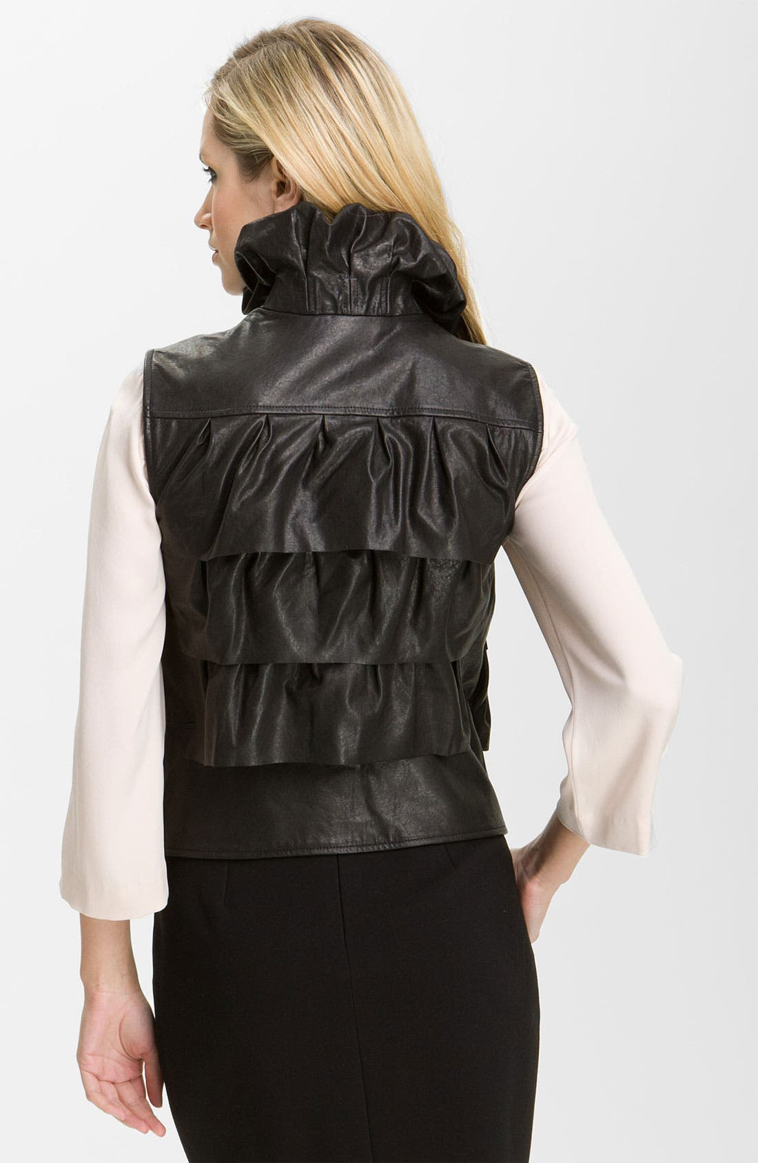 DIANE VON FURSTENBERG,                             'Cupcake' Leather Vest,                             Alternate thumbnail 3, color,                             001