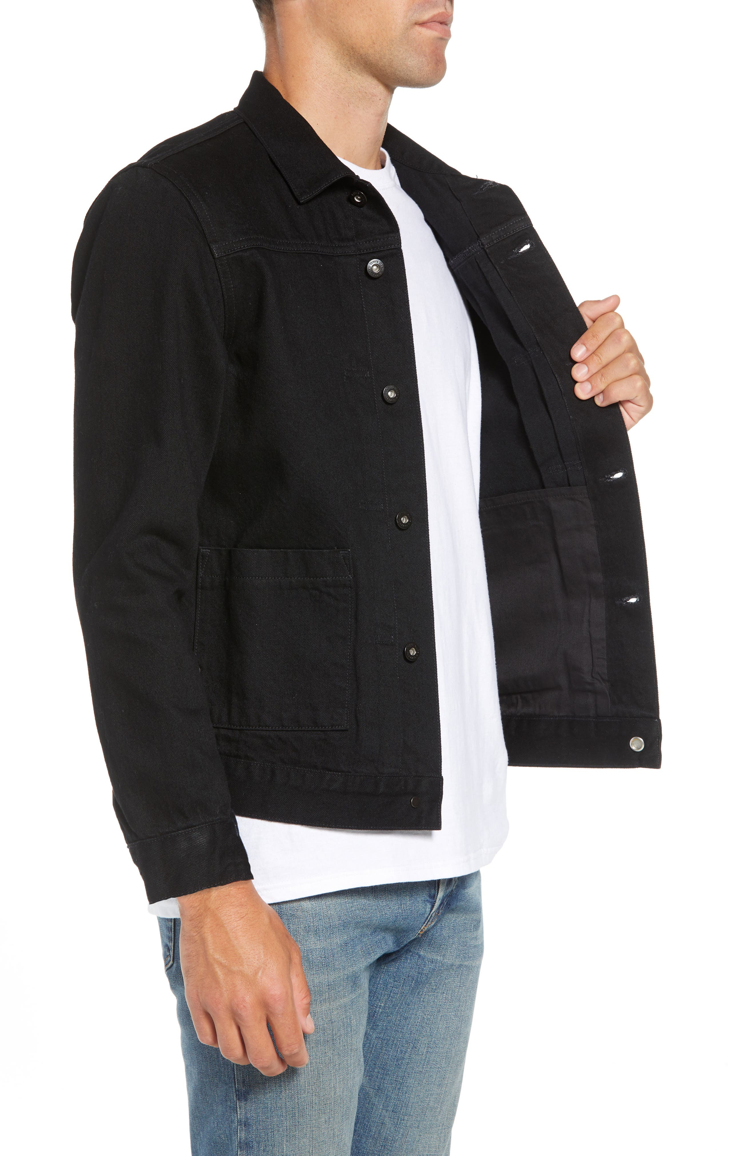 Type II<sup>™</sup> Worn Trucker Regular Fit Denim Jacket,                             Alternate thumbnail 3, color,                             NERO NERO