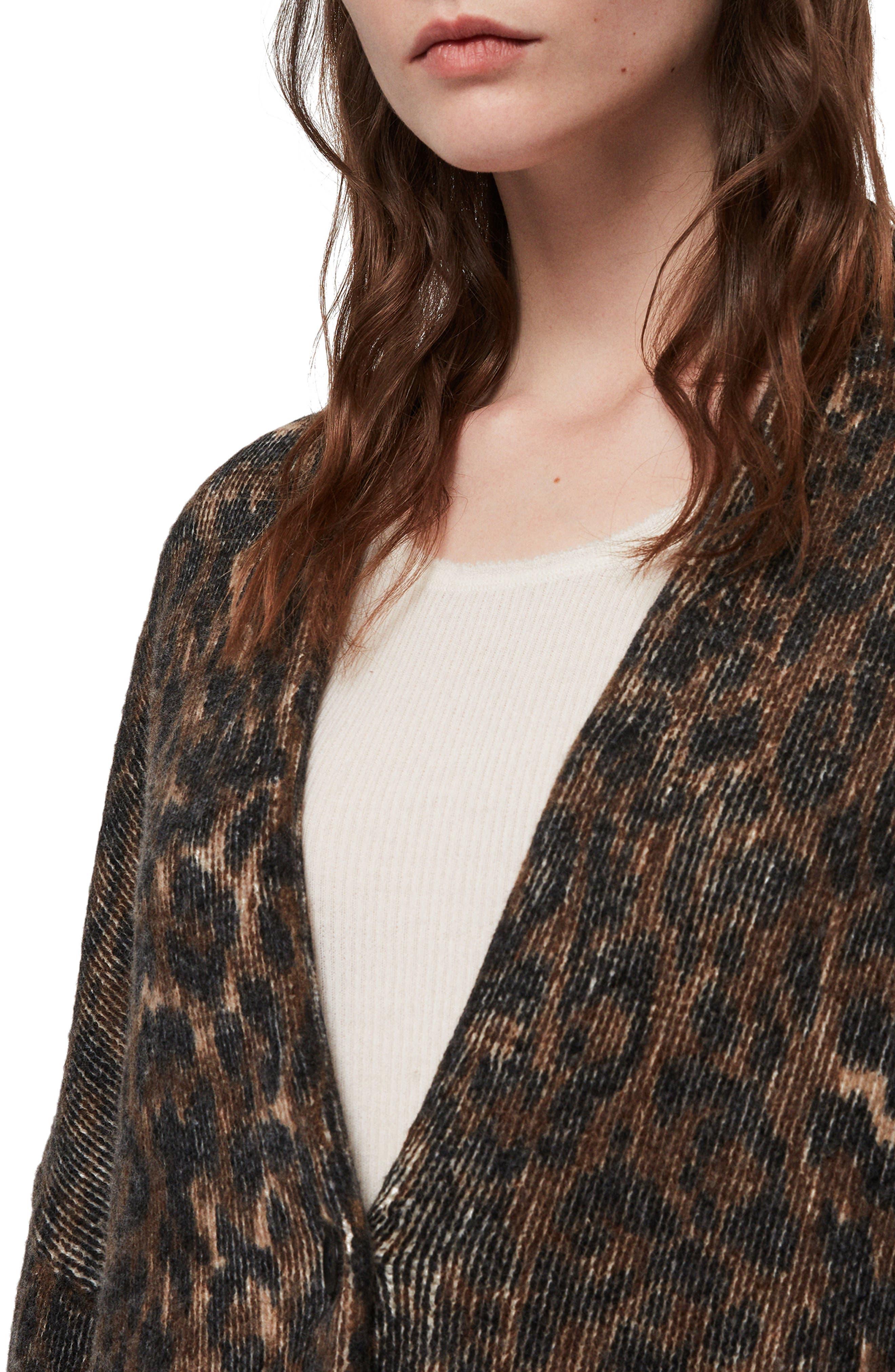 Ph Leopard Wool Blend Cardigan,                             Alternate thumbnail 3, color,                             LEOPARD BROWN
