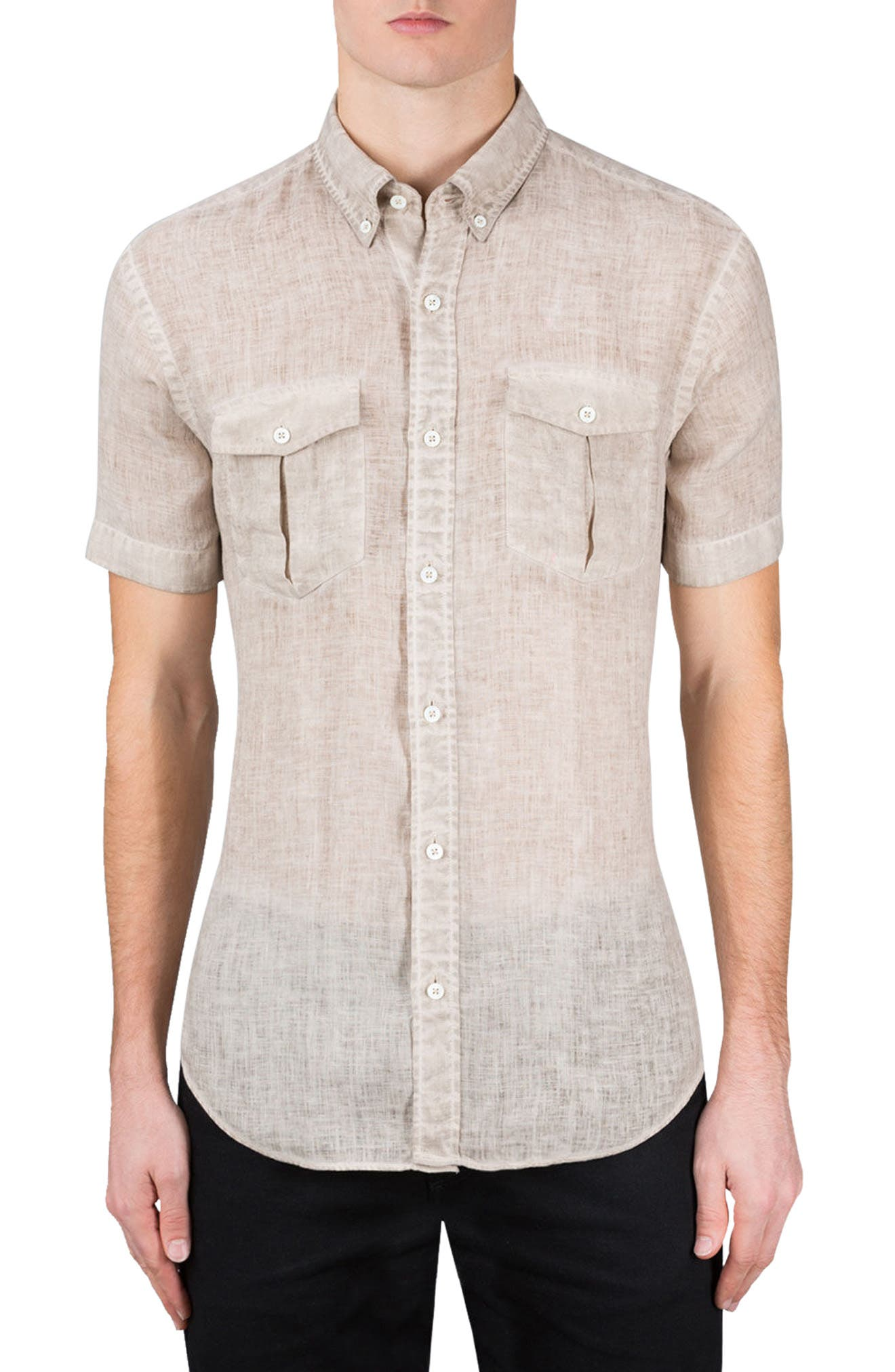 Shaped Fit Linen Sport Shirt,                         Main,                         color, 271