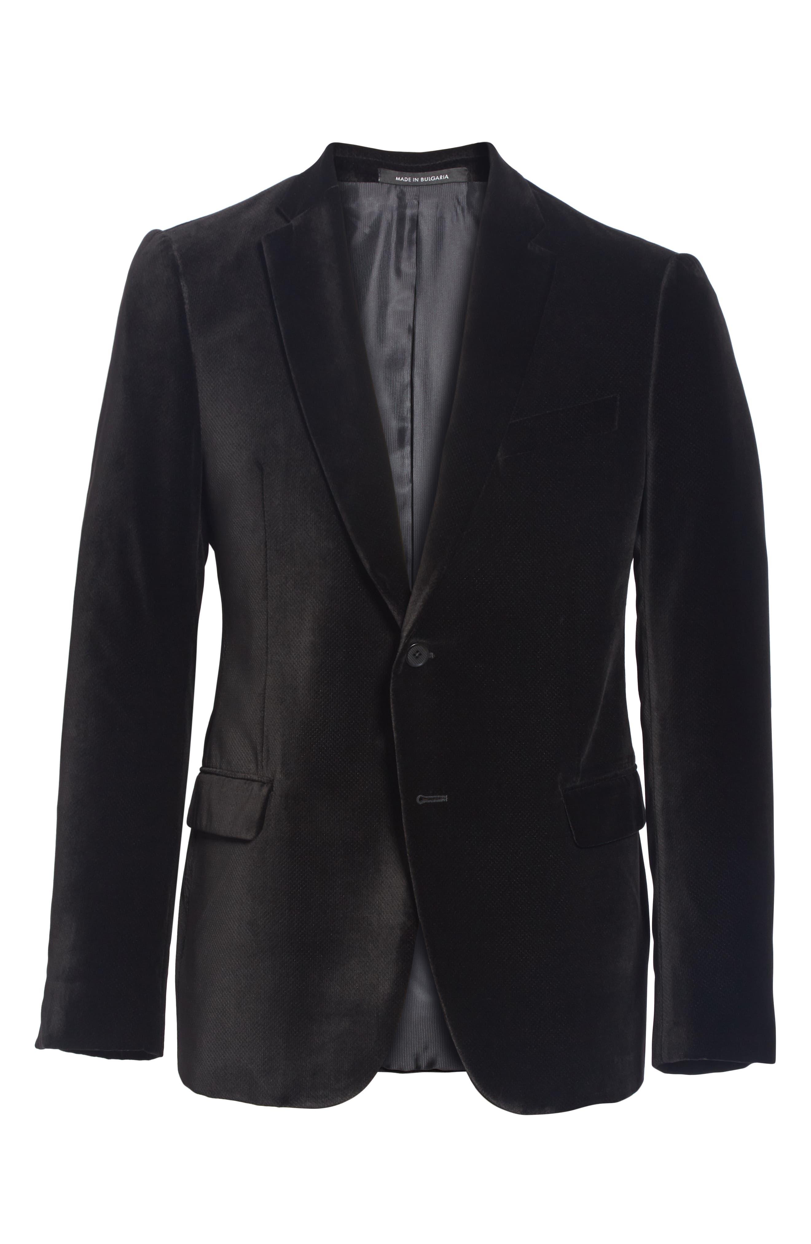 G-Line Trim Fit Velvet Blazer,                             Alternate thumbnail 5, color,                             BLACK
