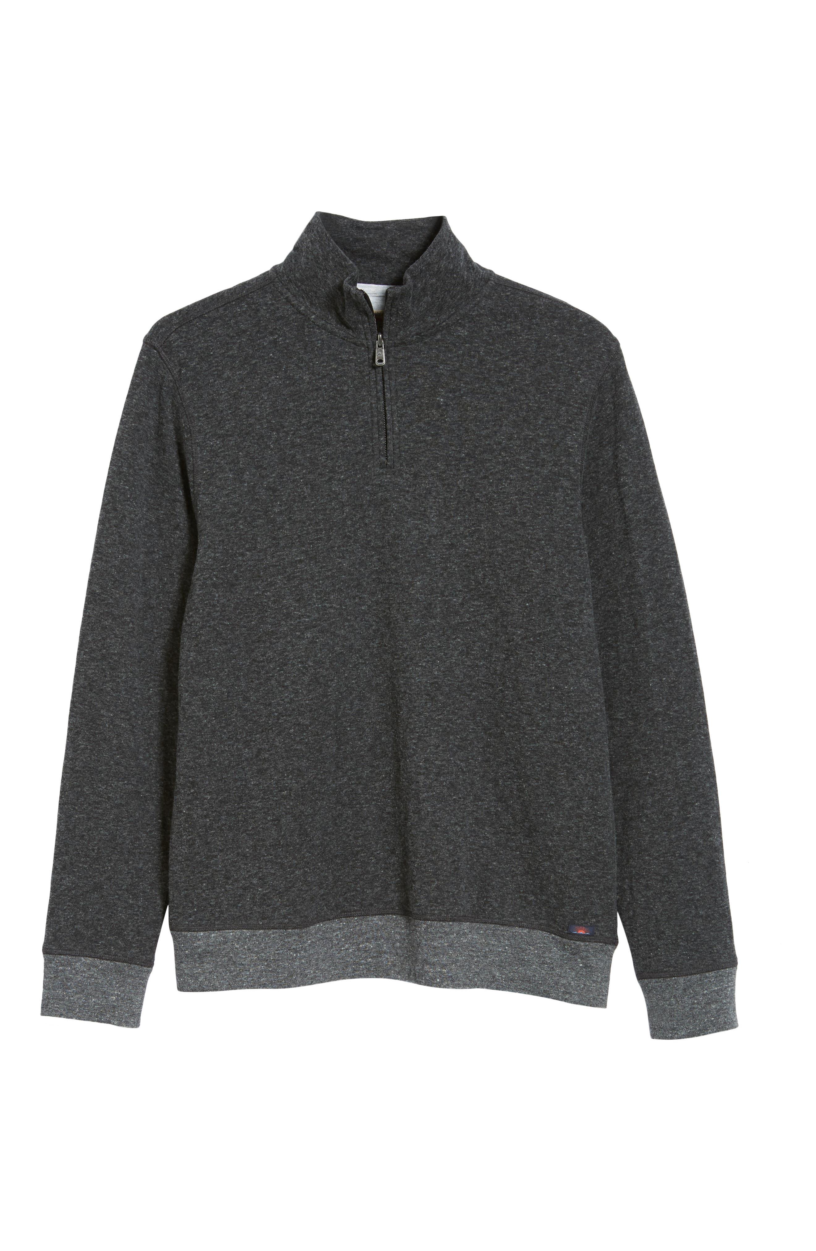 Dual Knit Regular Fit Quarter Zip Pullover,                             Alternate thumbnail 6, color,                             WASHED BLACK