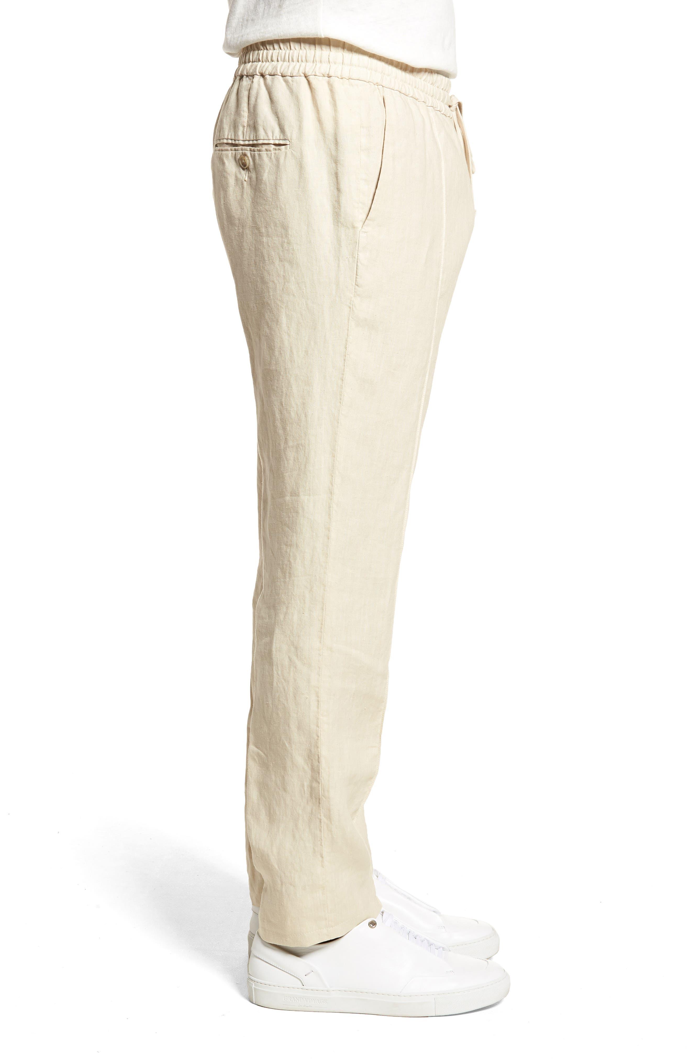 Pintuck Slim Fit Hemp Track Pants,                             Alternate thumbnail 3, color,                             WHITE SAND